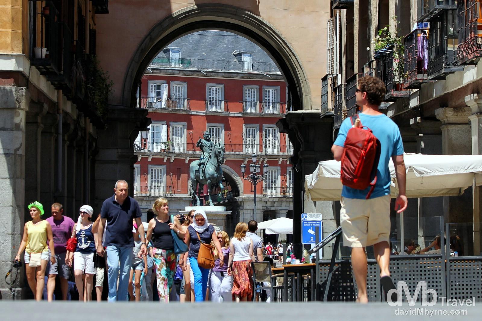 Looking towards Plaza Mayor from Plaza de Santa Cruz in Madrid, Spain. June 14th, 2014.