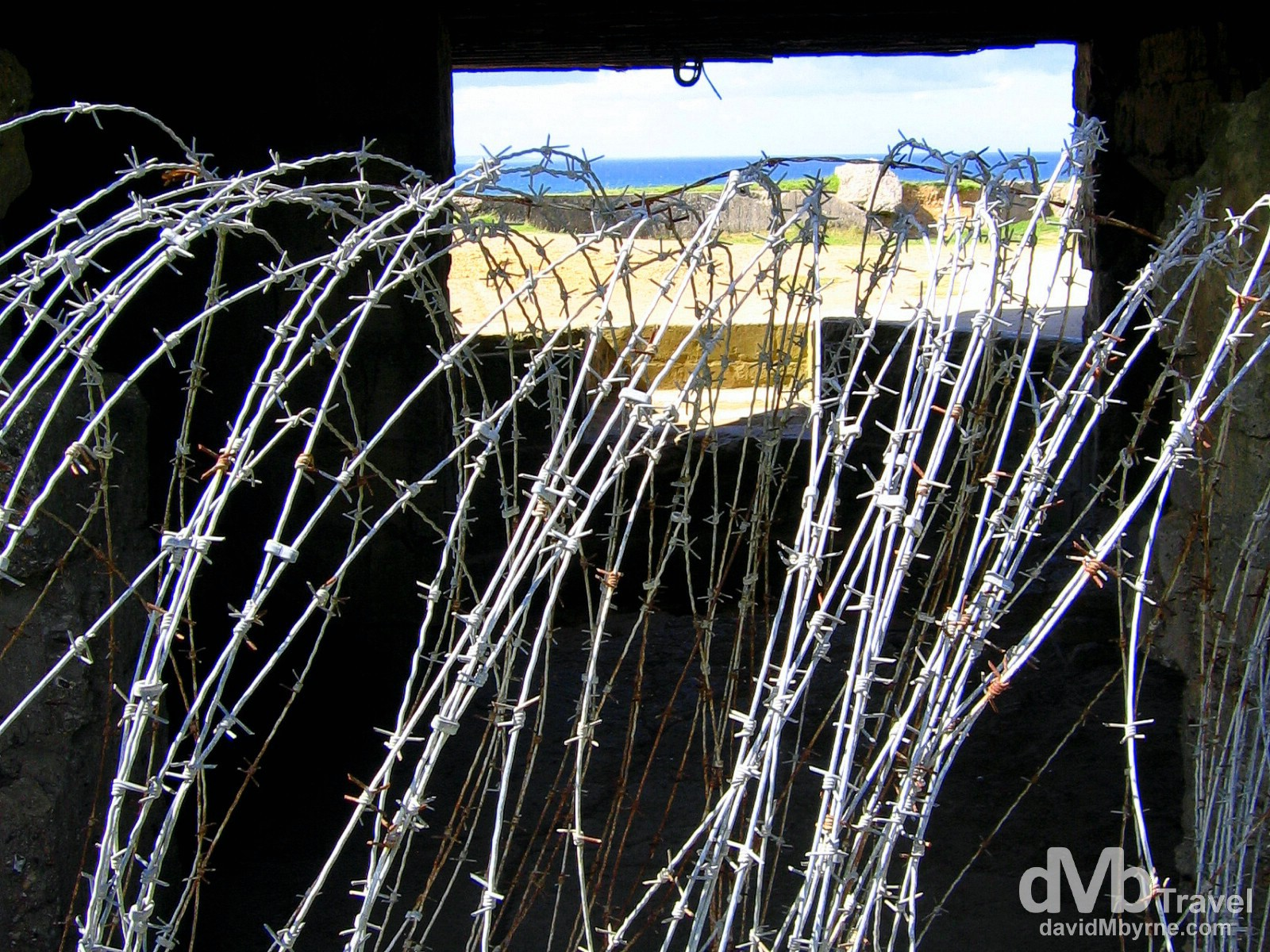 Barbed wire at Pointe Du Hoc, Omaha Beach, Normandy, France. August 16th, 2007.