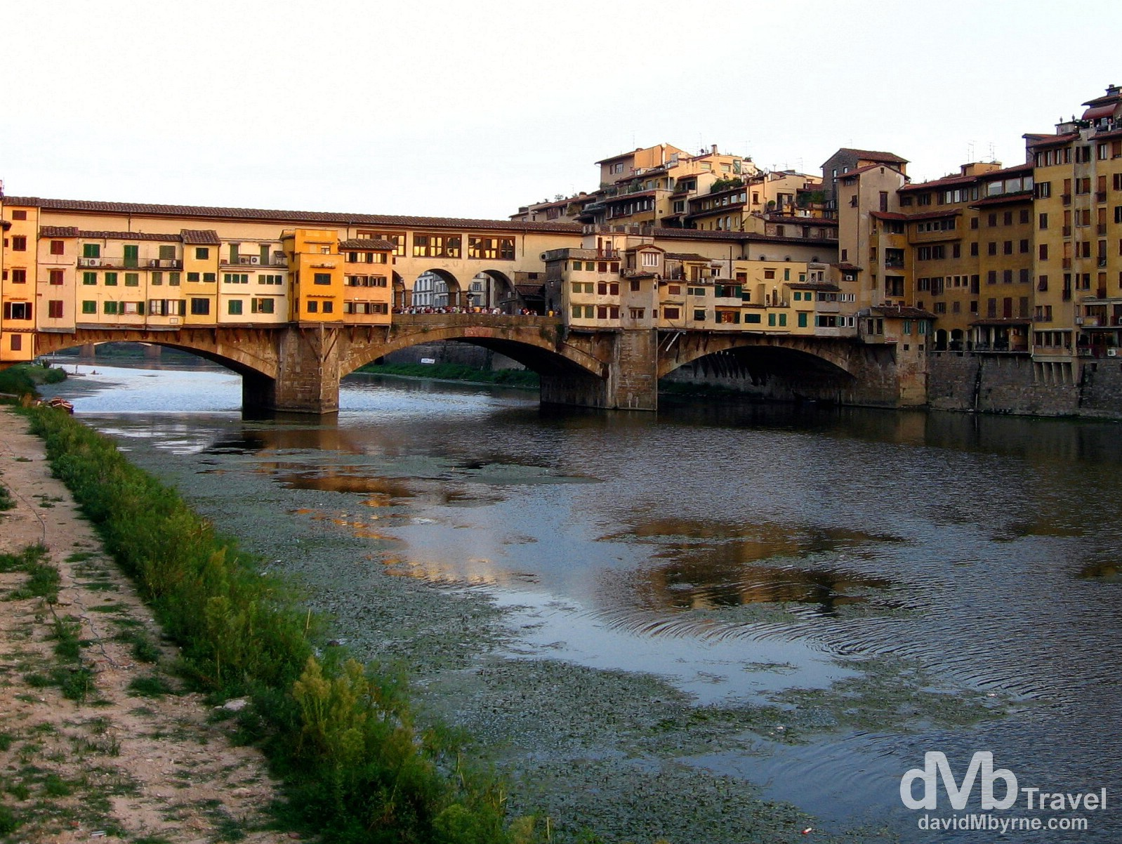 The Ponte Vecchio bridge over the Arno River in Florence, Tuscany, Italy. August 28th, 2007.