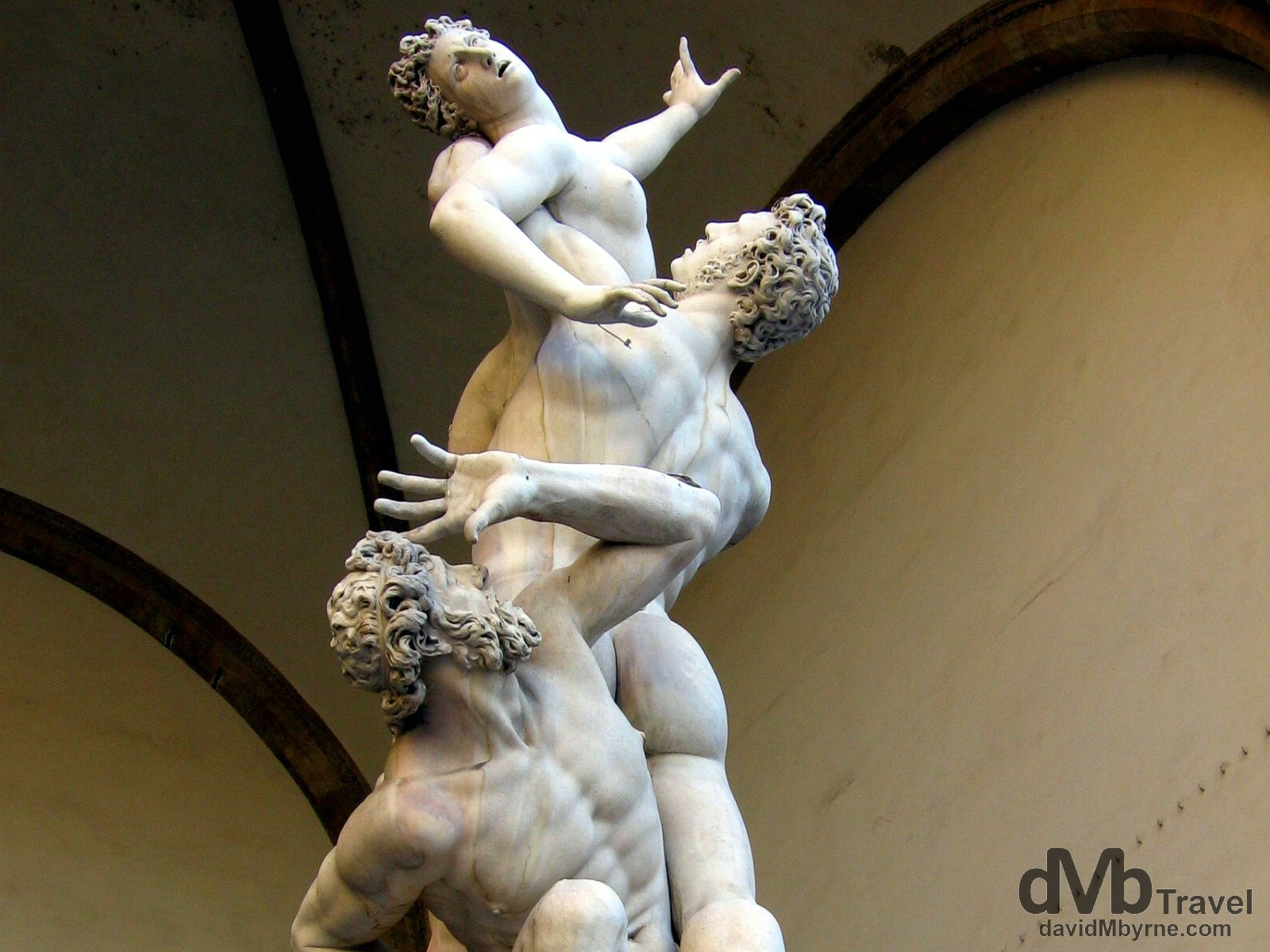 The sculpture 'Rape of the Sabine Women' in the Loggia della Signoria, Florence, Tuscany, Italy. August 28th, 2007.