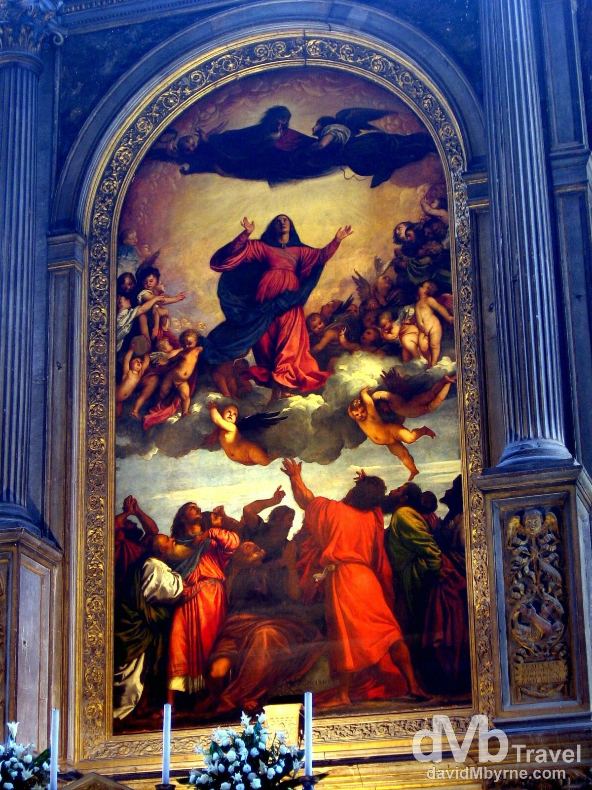 Titian's 1518 The Assumption in Santa Maria Gloriosa dei Frari church, Venice, Veneto, Italy. August 27th, 2007.