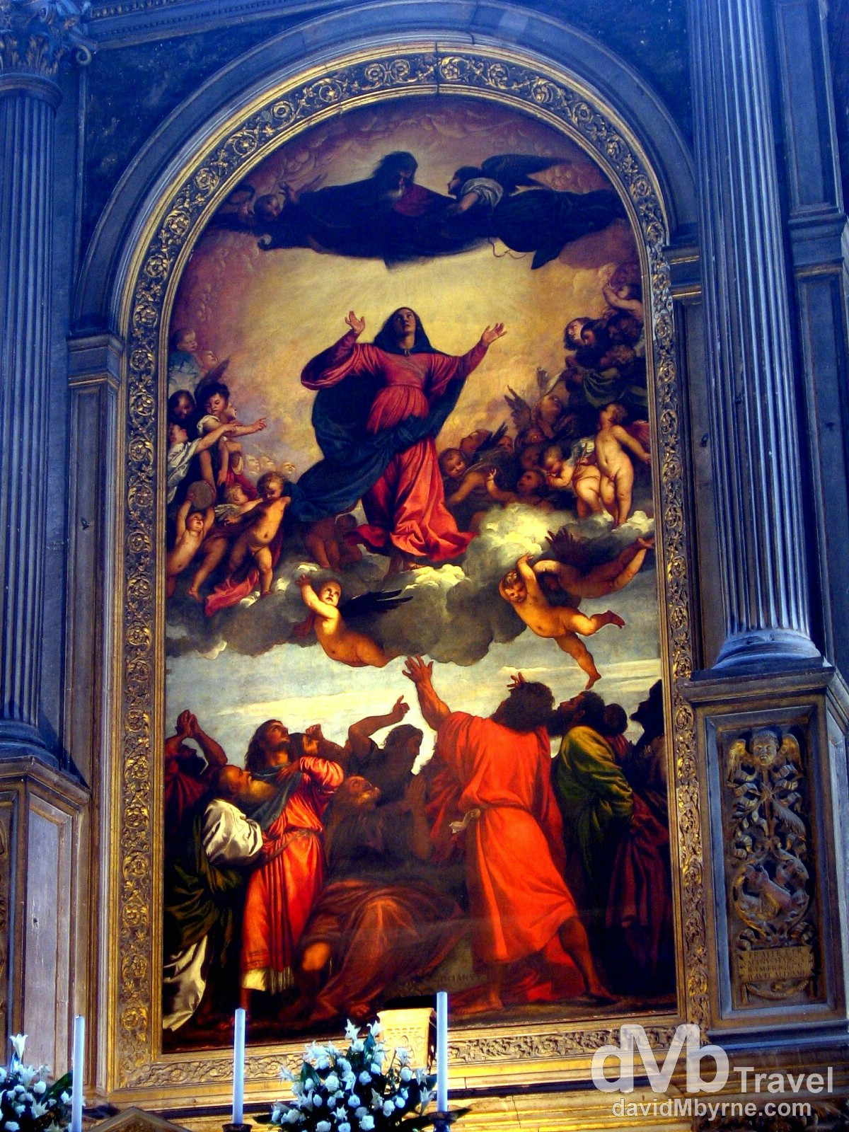 Titian's 1518 The Assumption in Santa Maria Gloriosa dei Frari church, Venice, Veneto, Italy. August 27th, 2007.