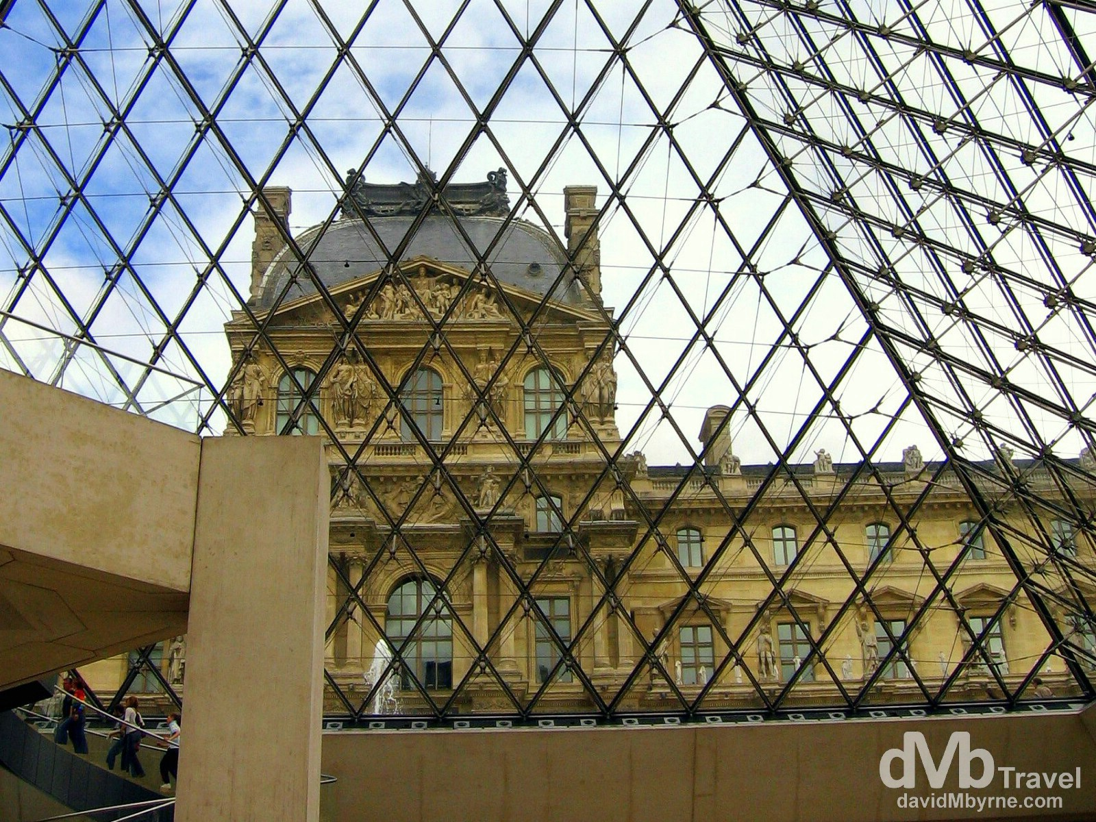 Part of the Richelieu wing as seen through the Pyramid from the Cour Napoléon (Napoleons court), Louvre Museum, Paris, France. August 19th, 2007.