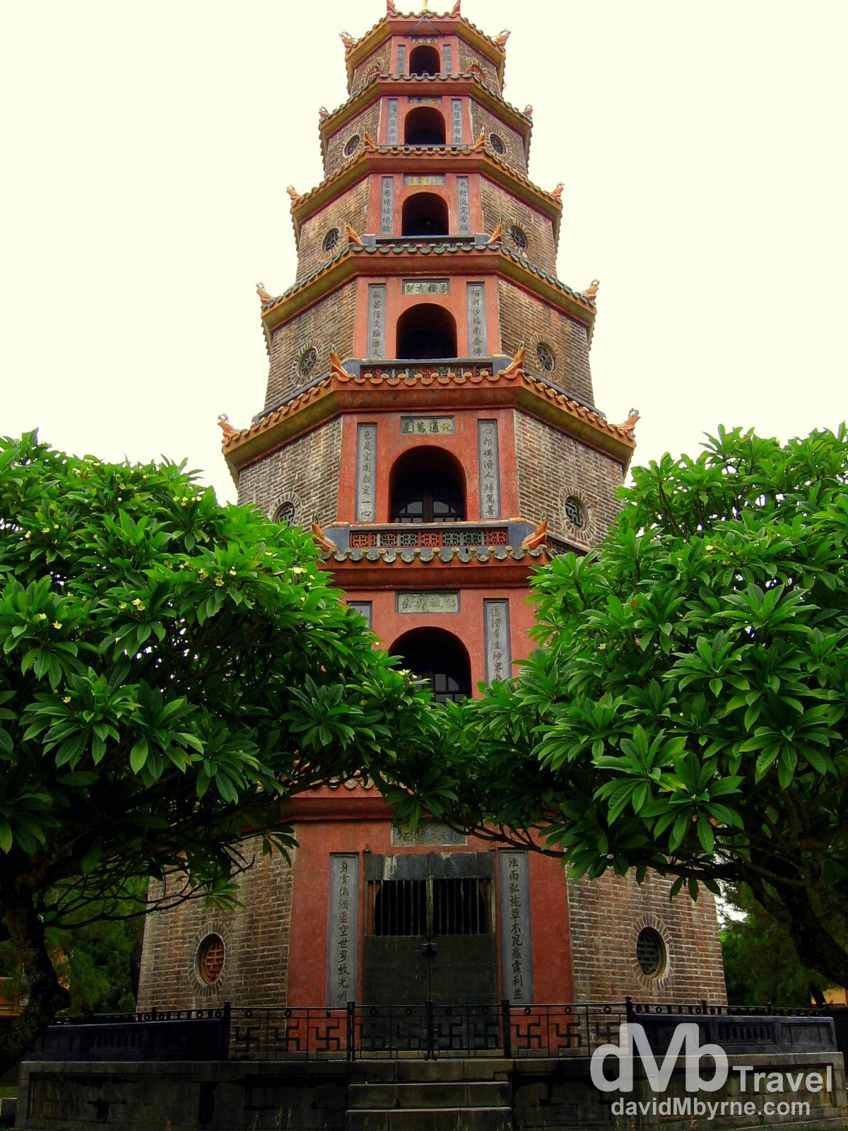 The iconic Thien Mu Pagoda on the banks of the Perfume River in Hue, Vietnam. September 8th 2005.