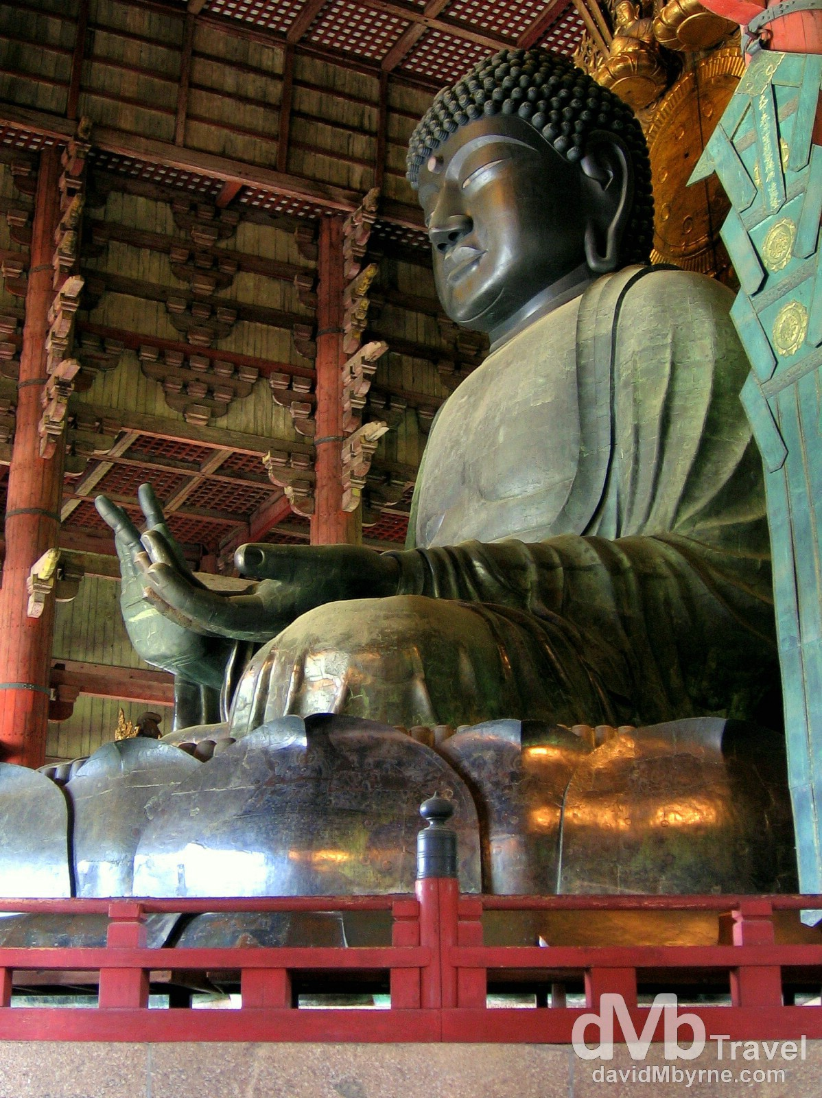 The Great Buddha of Nara in the Daibutsuden (Great Buddha Hall) of the Todai-ji Temple, Nara, Honshu, Japan. July 19th, 2005.