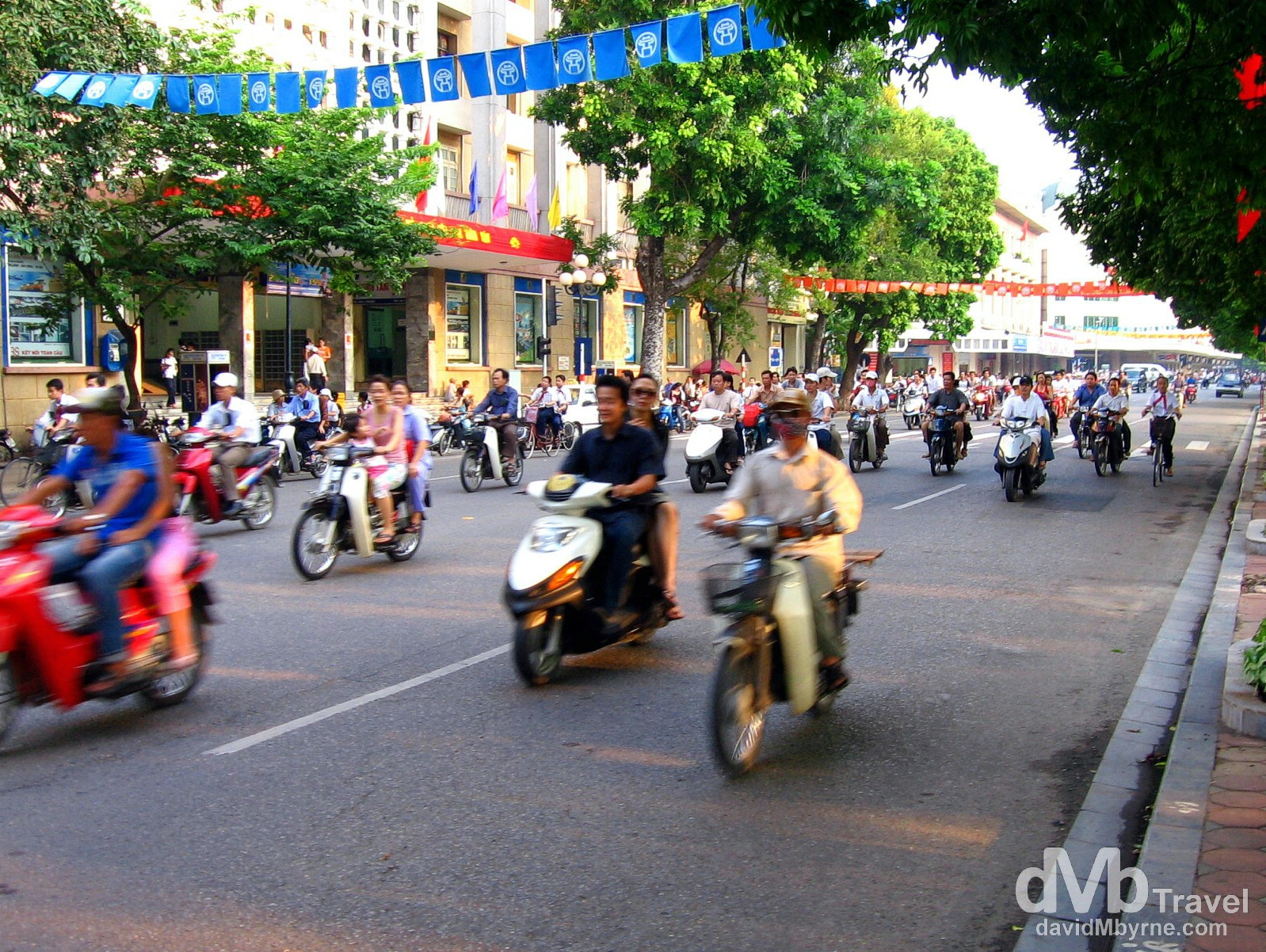 Scooters on the streets of Hanoi, Vietnam. September 5th, 2005.