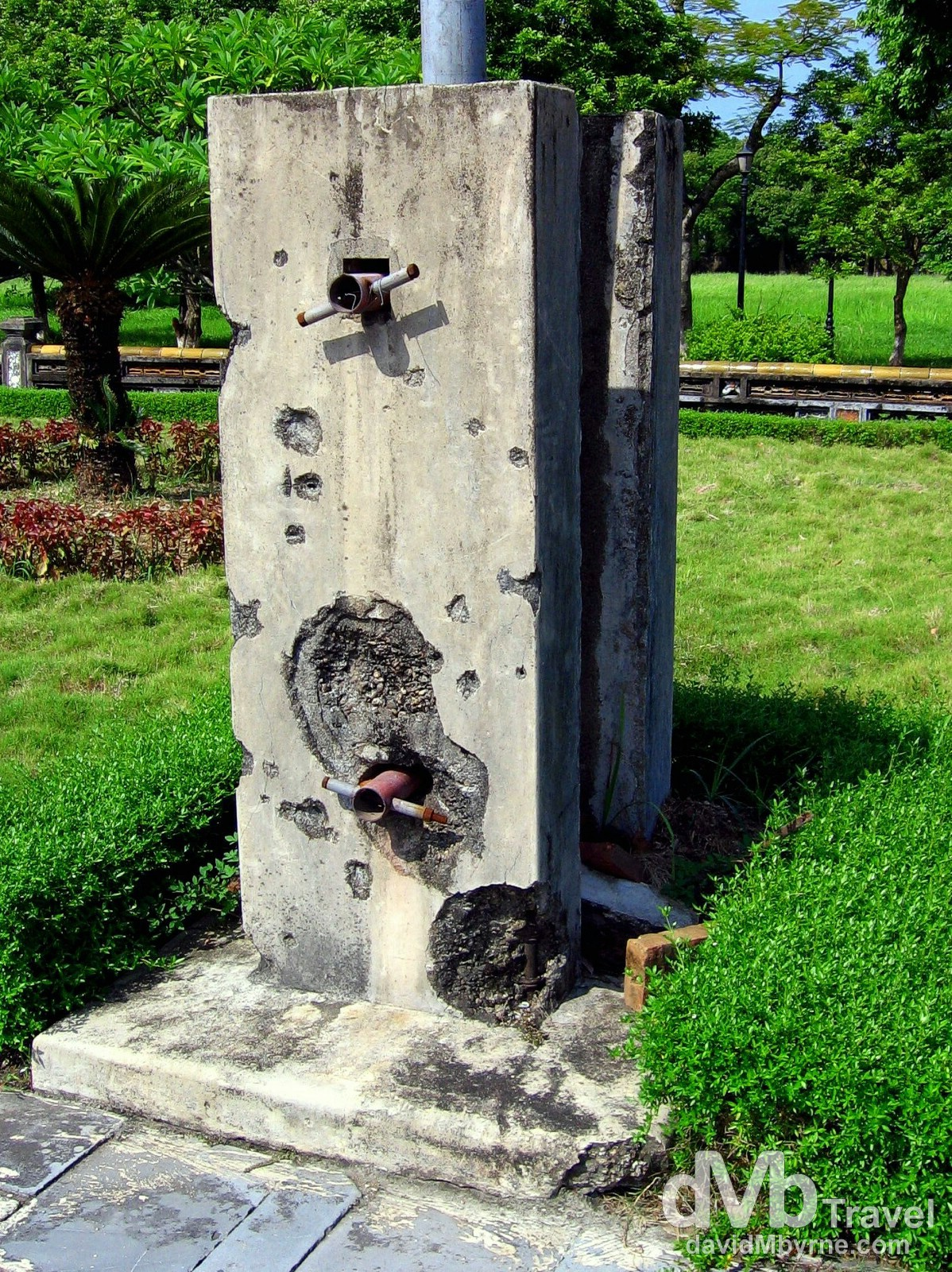 Damage from the warring past visible in the grounds of the UNESCO-listed Citadel in Hue, Central Vietnam. September 7th, 2005.