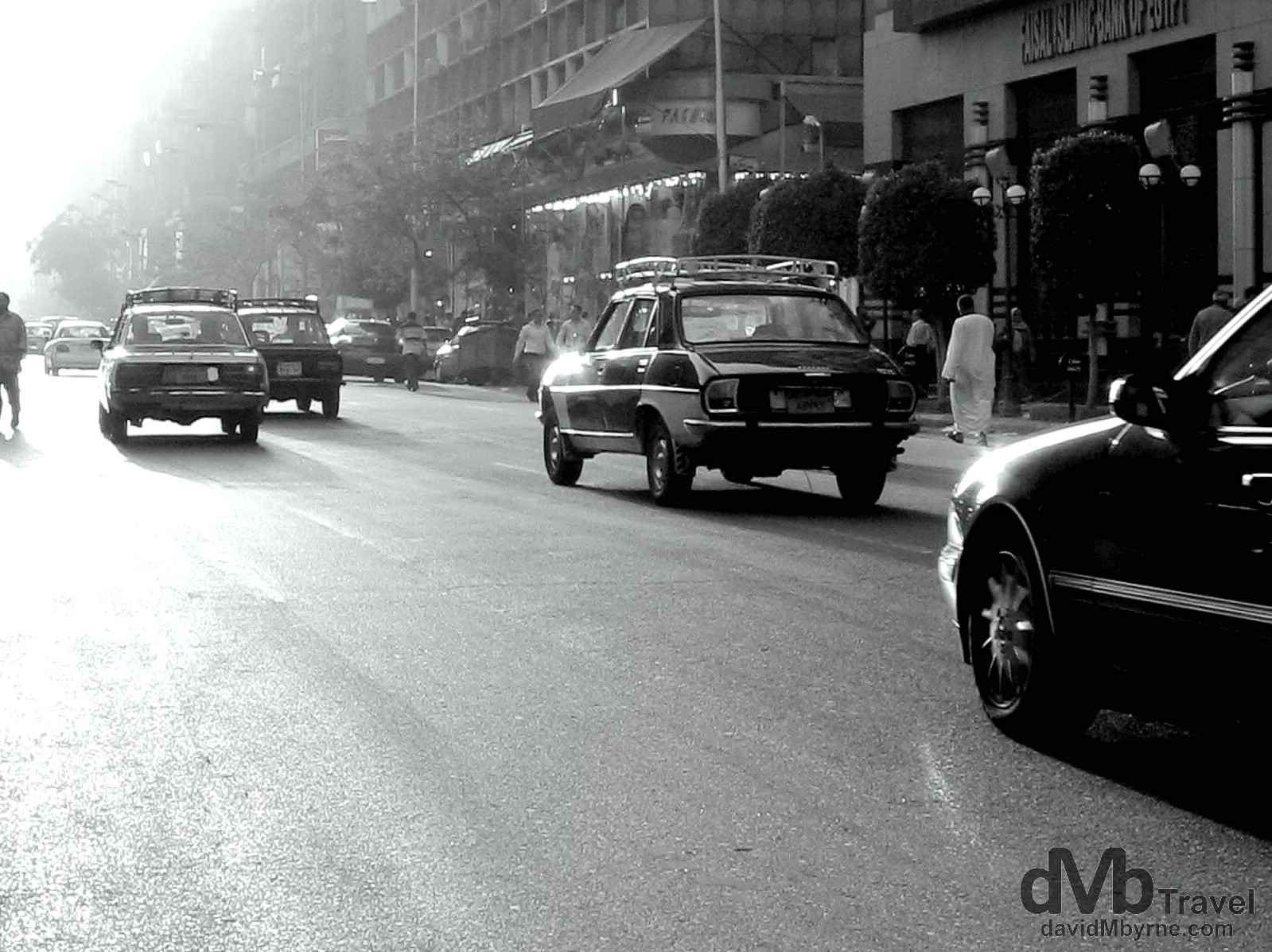 Late afternoon traffic on 26th of July street, Downtown Cairo, Egypt. April 10, 2008.
