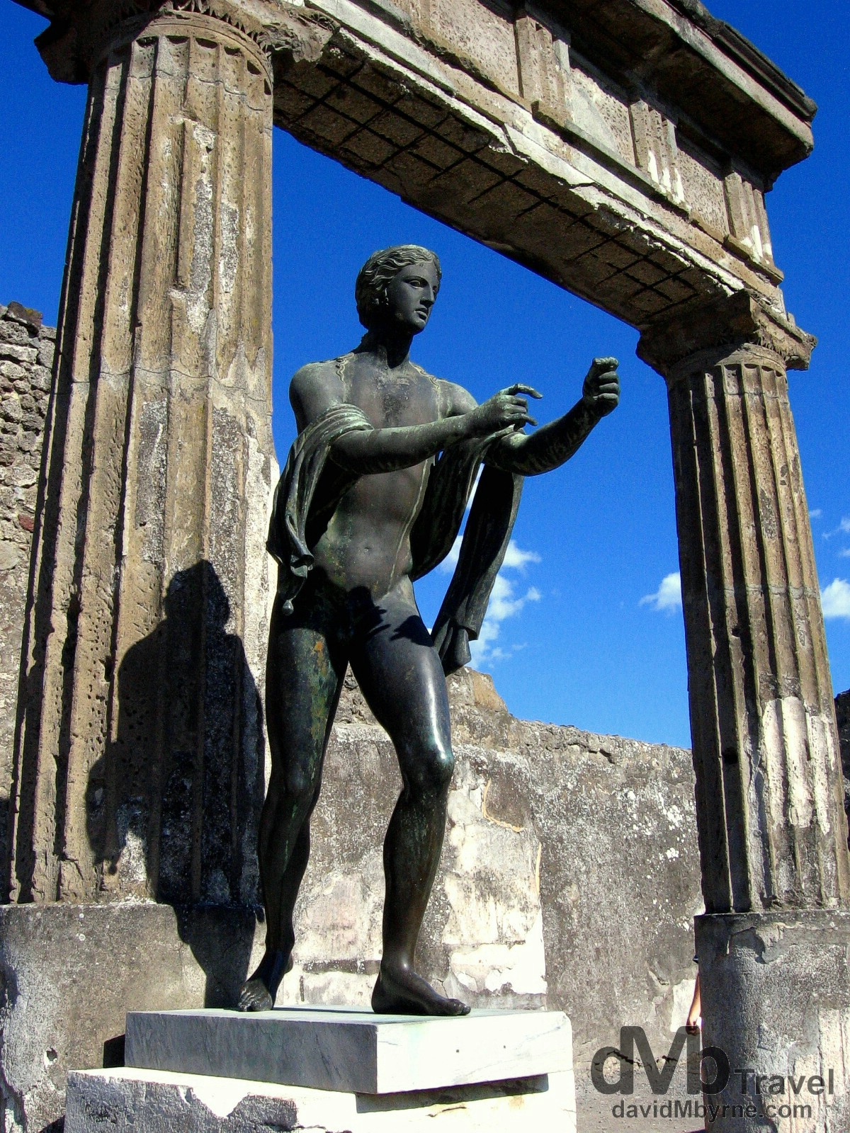A statue of Apollo, the Greek God of light, in the Apollo Temple of the Forum in Pompeii, Campania, Italy. September 5th, 2007.