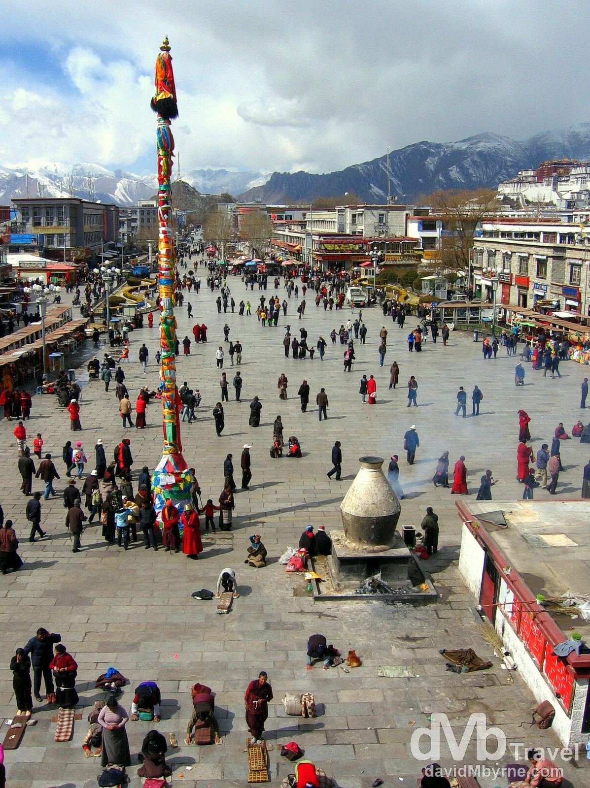 Barkhor Square as seen from the roof of the Jokhang Temple, Lhasa, Tibet. February 27th, 2008.