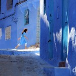 In the blue lanes of the medina in Chefchaouen, Morocco. May 31st, 2014.