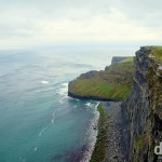A section of the coastline as seen from the Cliffs of Moher Walking trail, Co. Clare, Ireland. August 27, 2014.