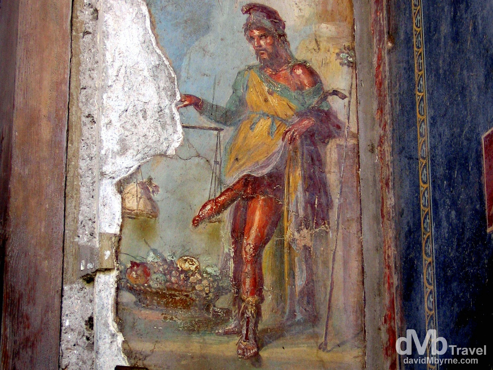 An erotic mural on display in the Roman ruins of Pompeii, Campania, Italy. September 5th, 2007.