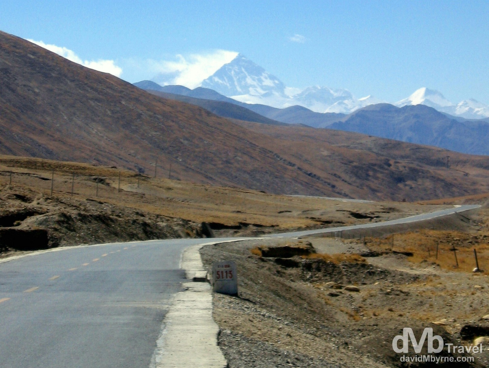 First look at Everest from the 5115 kilometre marker (distance from Shanghai) on The Friendship Highway, Tibet. March 2nd, 2008.