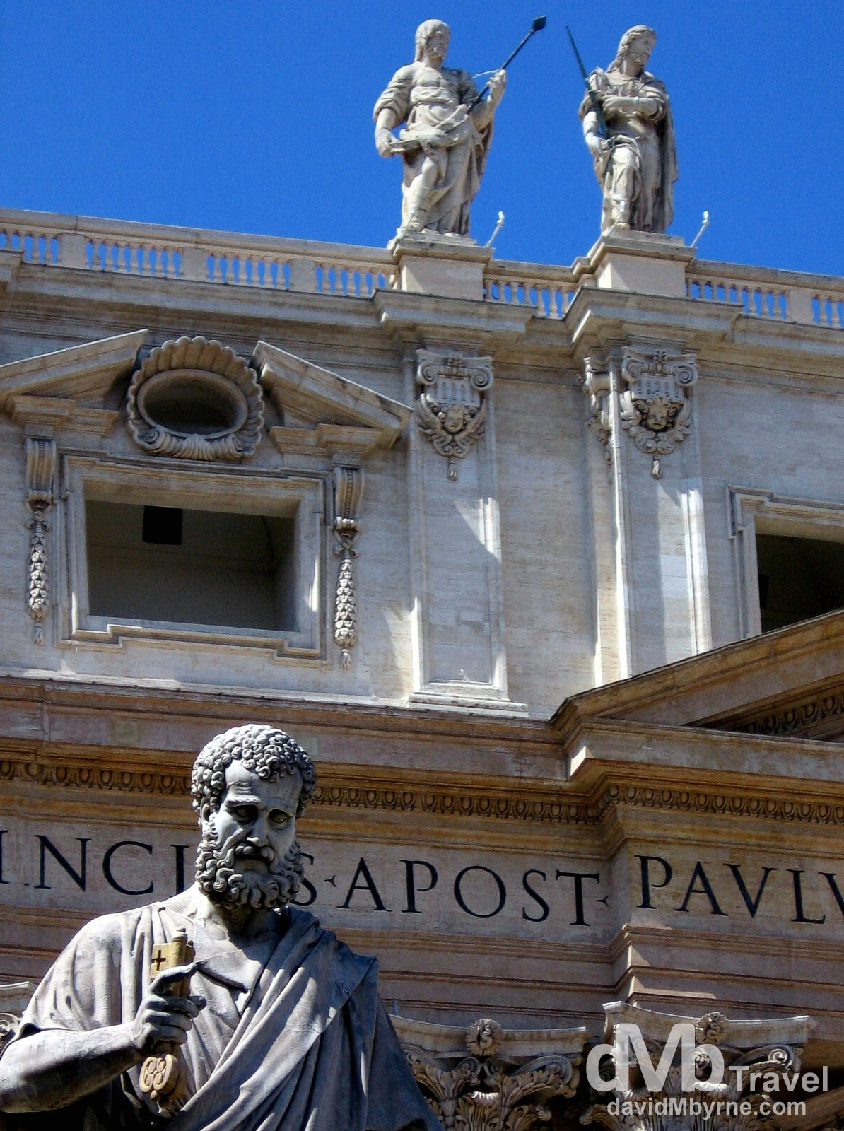 Statues adorning the facade of St. Peter's Basilica, Vatican City. September 1st, 2007.