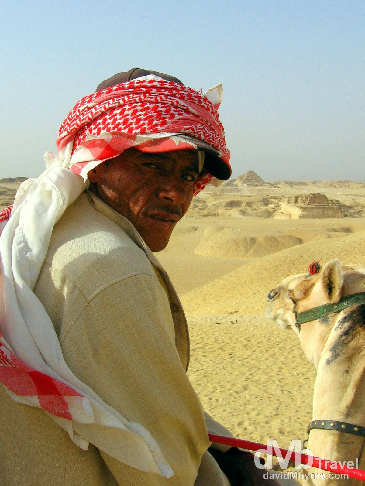 A Bedouin camel herder on the Giza Plateau, Giza, Egypt. April 13, 2008.
