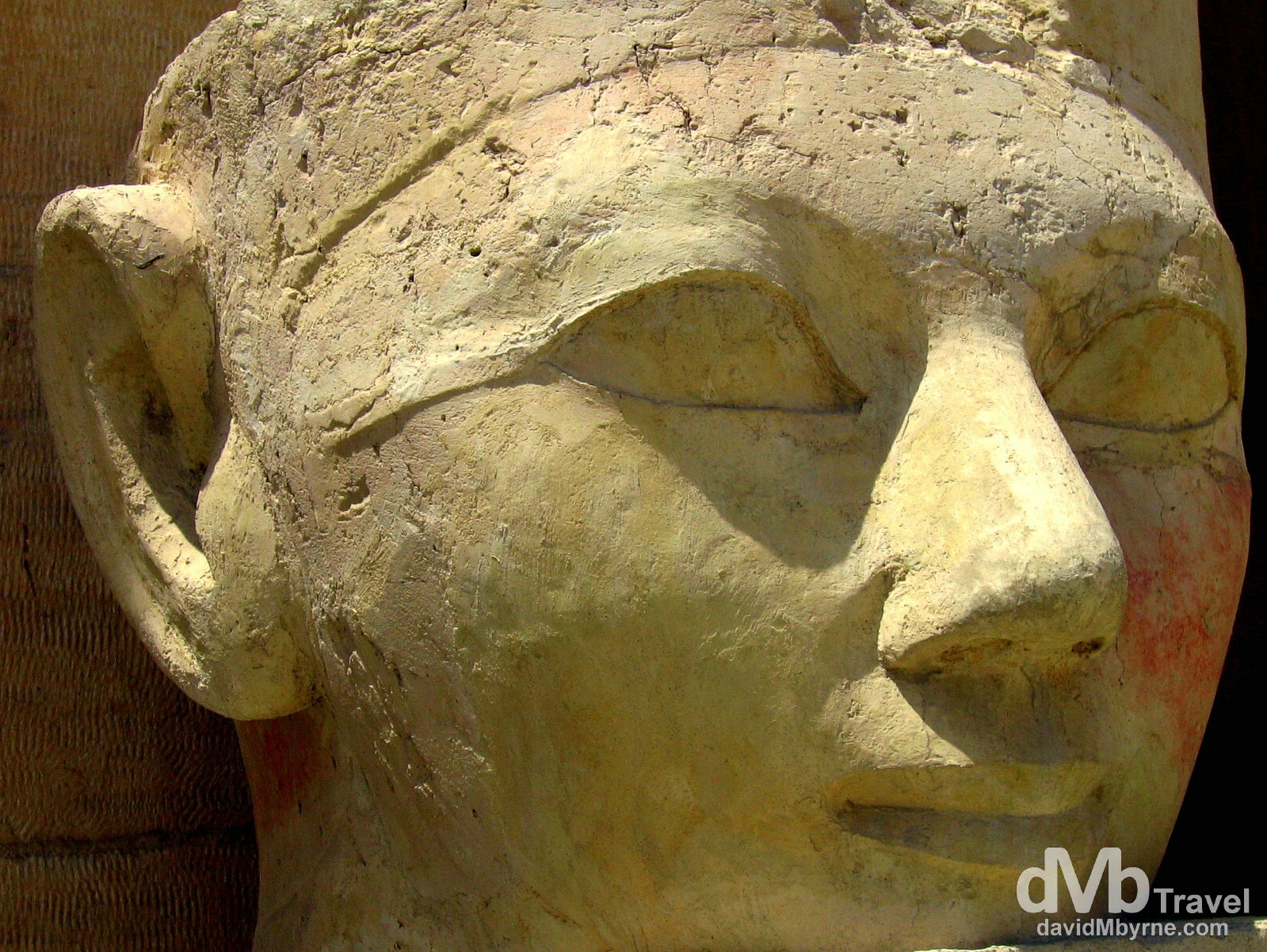 A statue head resembling Hatshepsut in The Funerary Temple of Hatshepsut, West bank of the Nile, Luxor, Egypt. April 12, 2008.