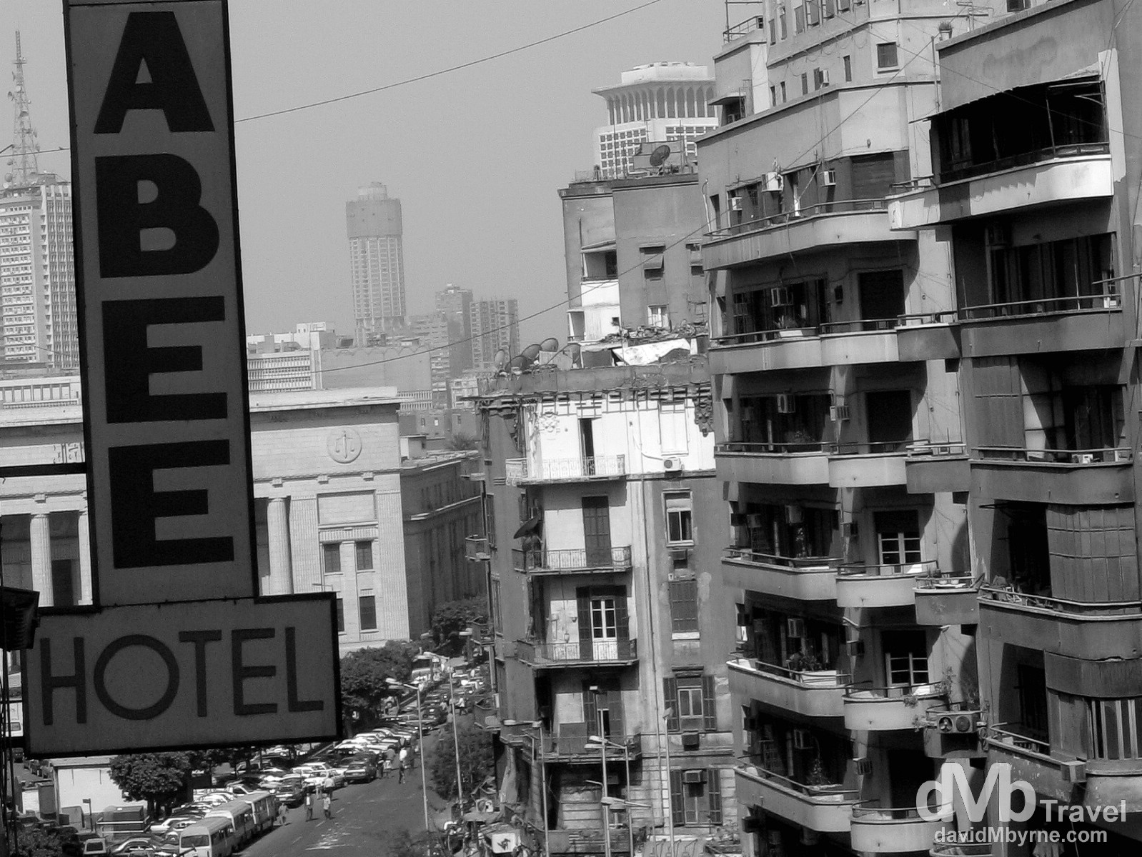 A section of Cairo, Egypt, as seen from the restaurant of the Scarabee Hotel in downtown Cairo, Egypt. April 10, 2008.
