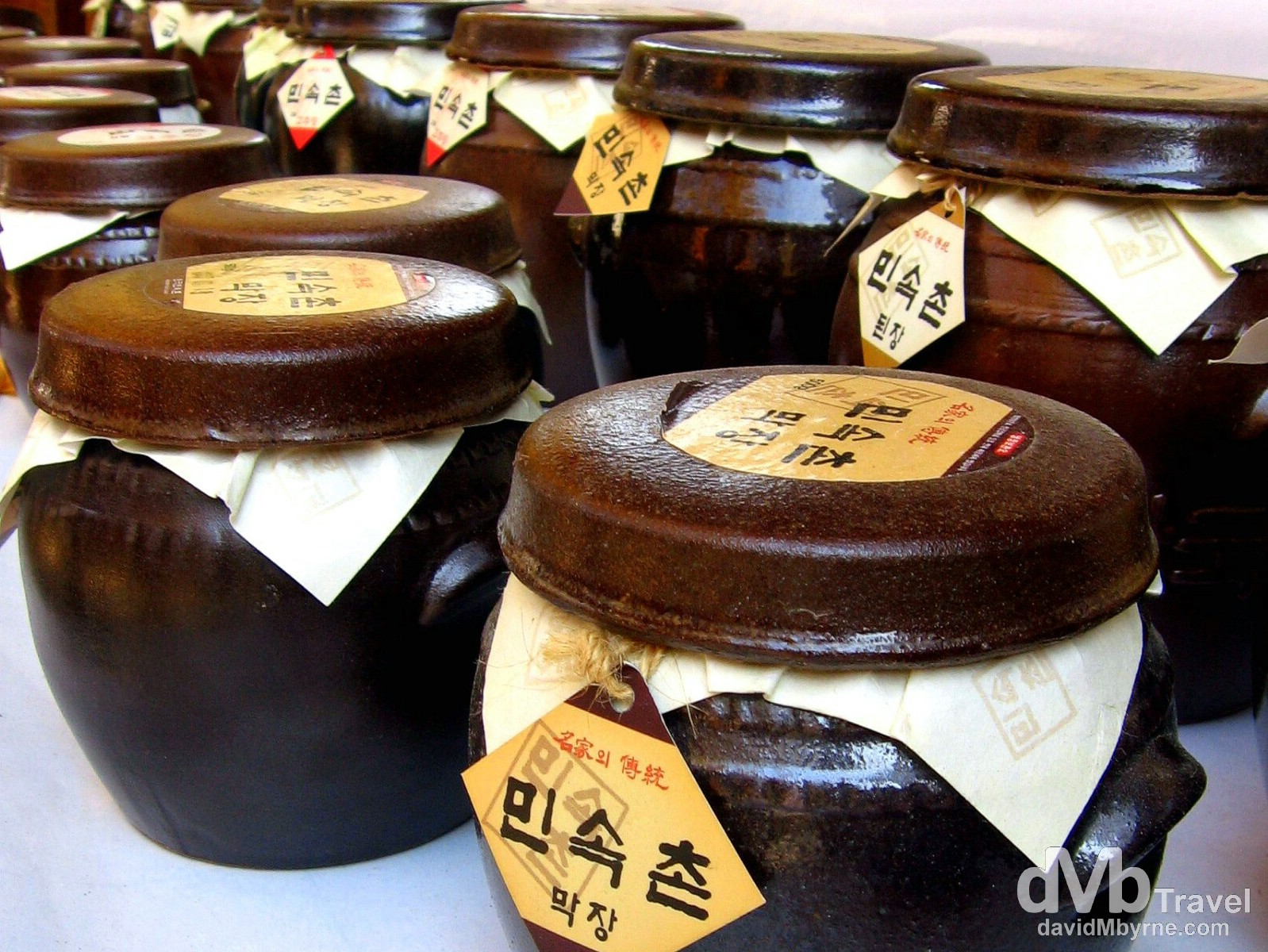 Traditional earthenware jars for sale in the Folk Village in Yongin, South Korea. November 7th, 2007.