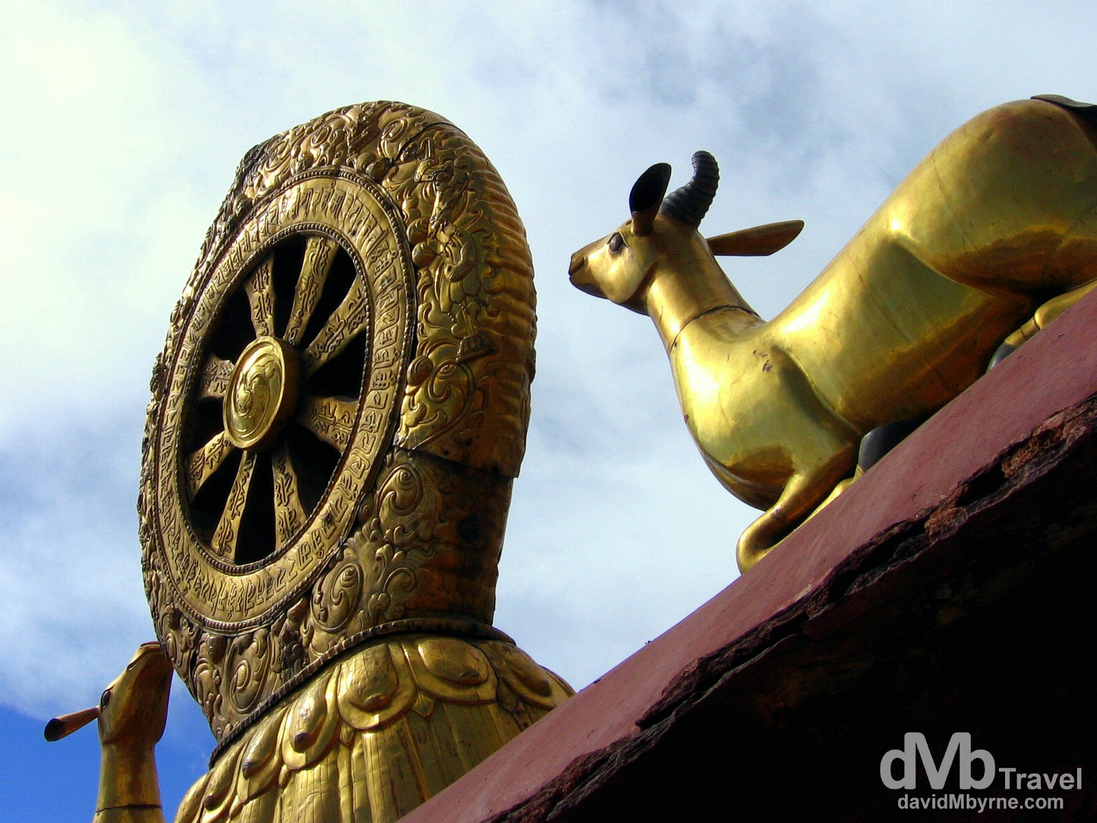 The roof of the Jokhang Temple in Lhasa, Tibet. February 27th, 2008.
