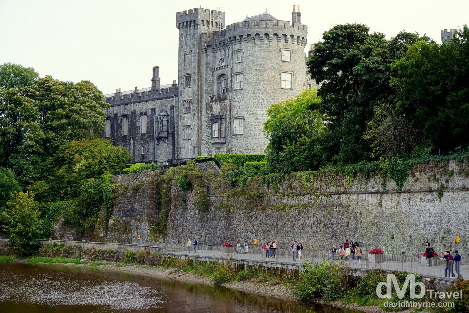 A portion of Kilkenny Castle as seen from a bridge over the River Nore in Kilkenny, Co. Kilkenny, Ireland. August 30, 2014.