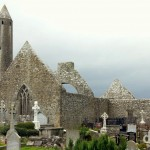 The remains of the early 7th century Kilmacduagh Monastery outside the village of Gort, Co. Galway, Ireland. August 27, 2014.