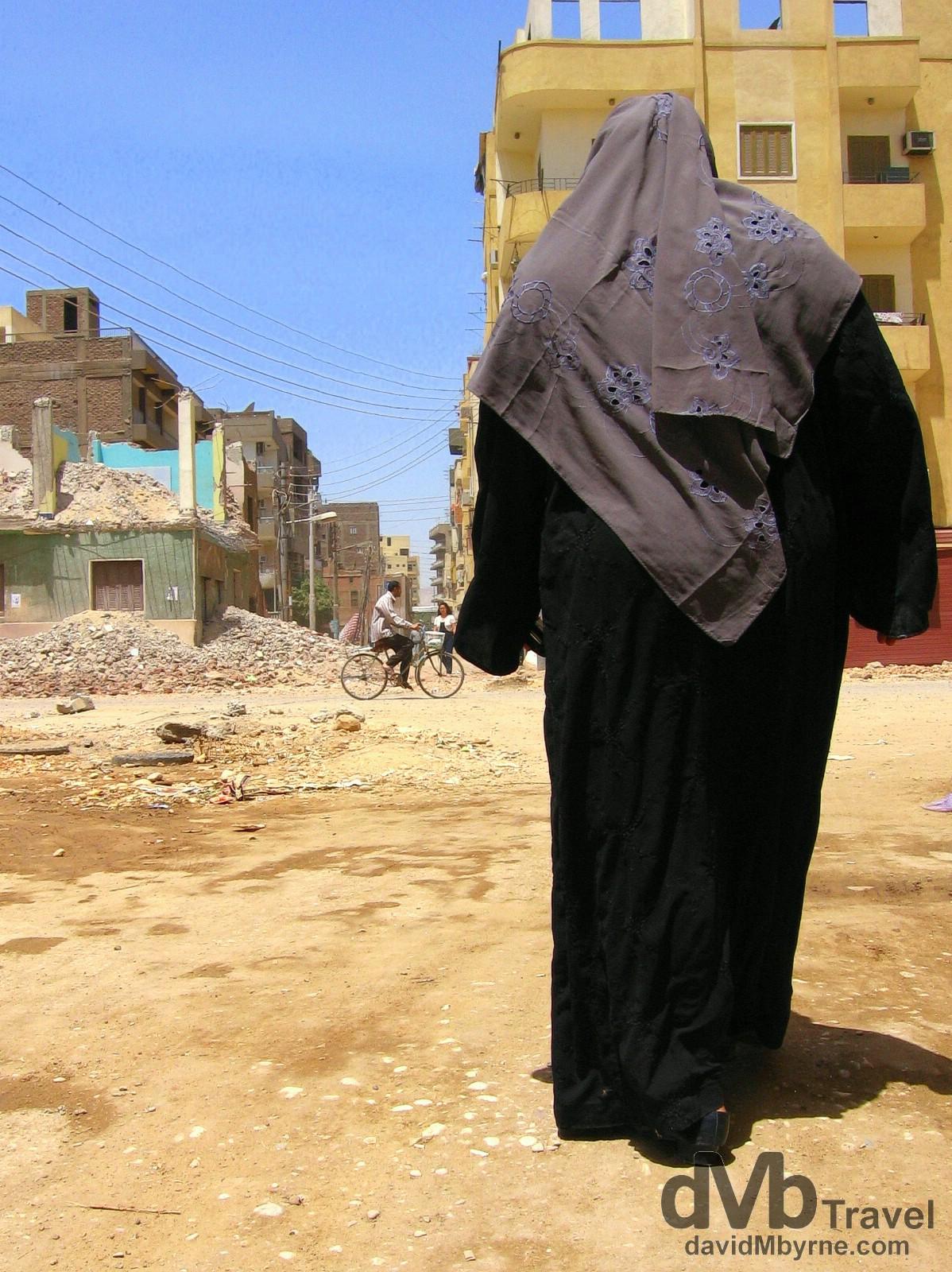 Walking on Mohammed Farid in Luxor, Egypt. April 11, 2008.