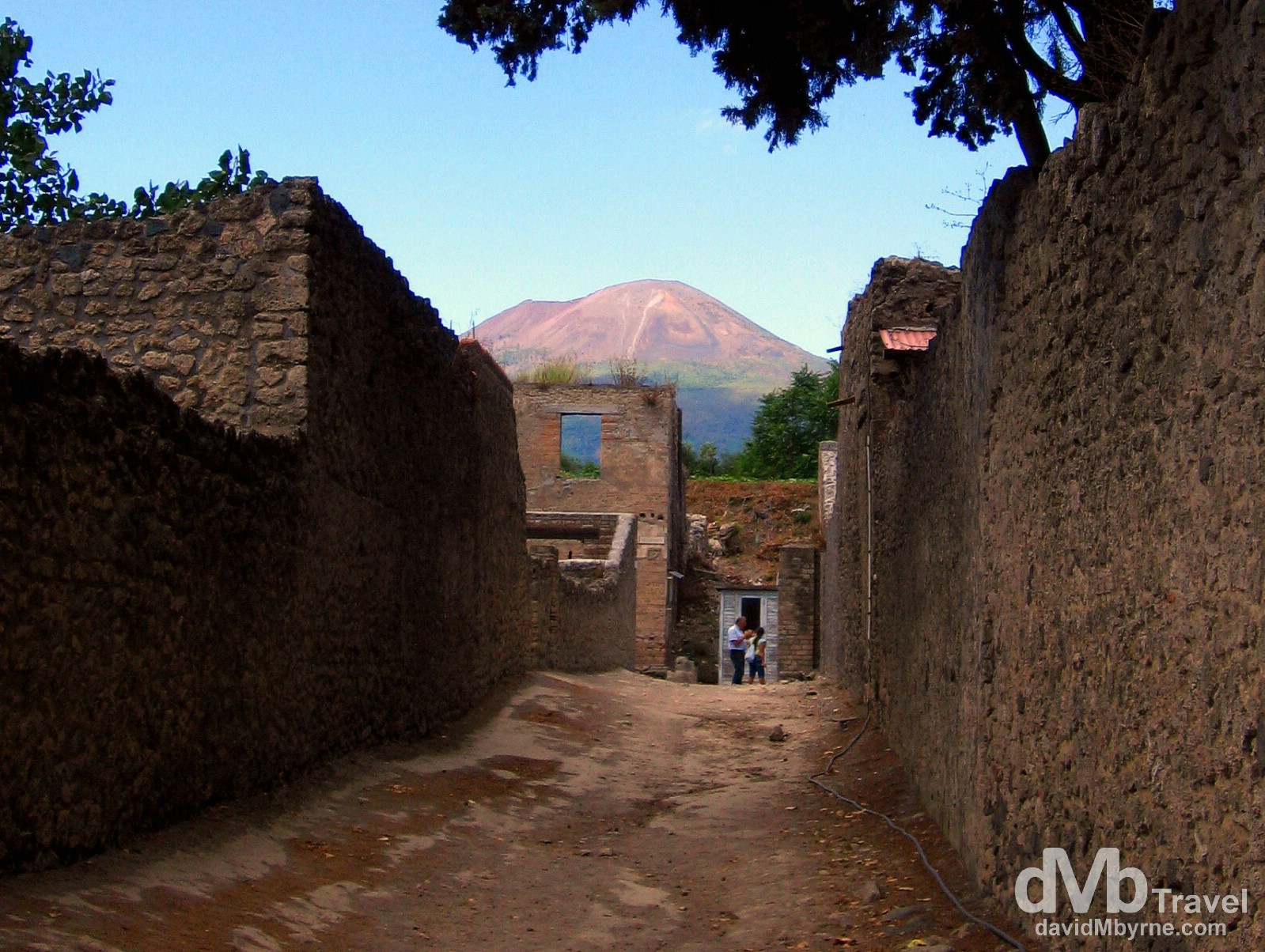 Mt. Vesuvius as seen from the streets of Pompeii, Campania, Italy. September 5th, 2007.