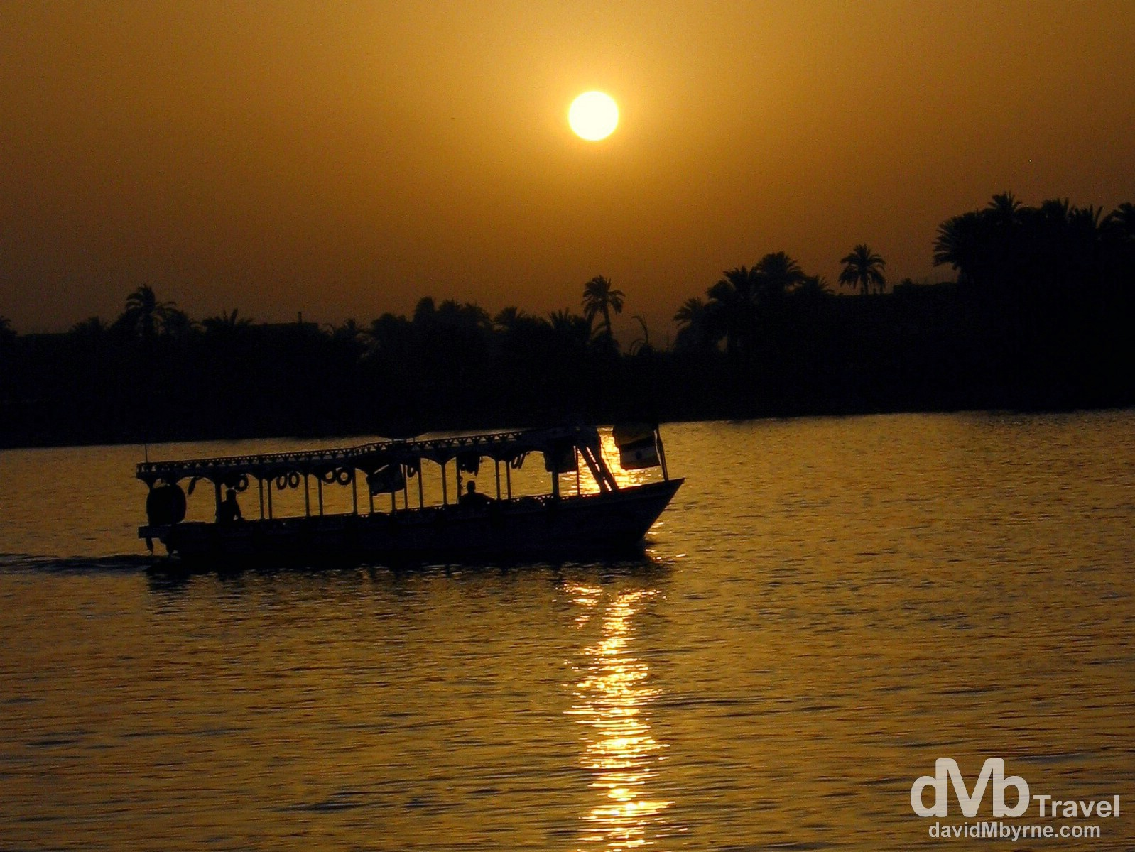 Sunset on the Nile River in Luxor, Egypt. April 12, 2008.