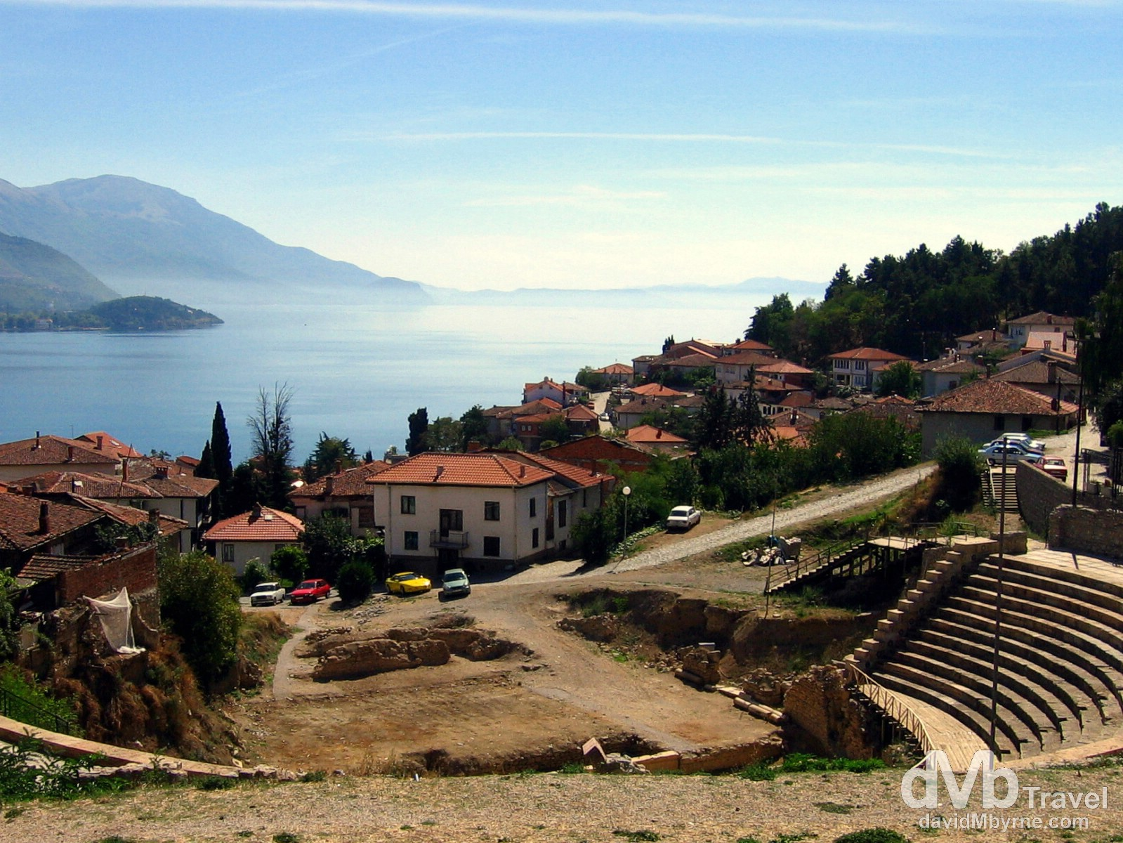 A section of the Ancient theatre of Ohrid overlooking Lake Ohrid in Macedonia. September 14th, 2007.