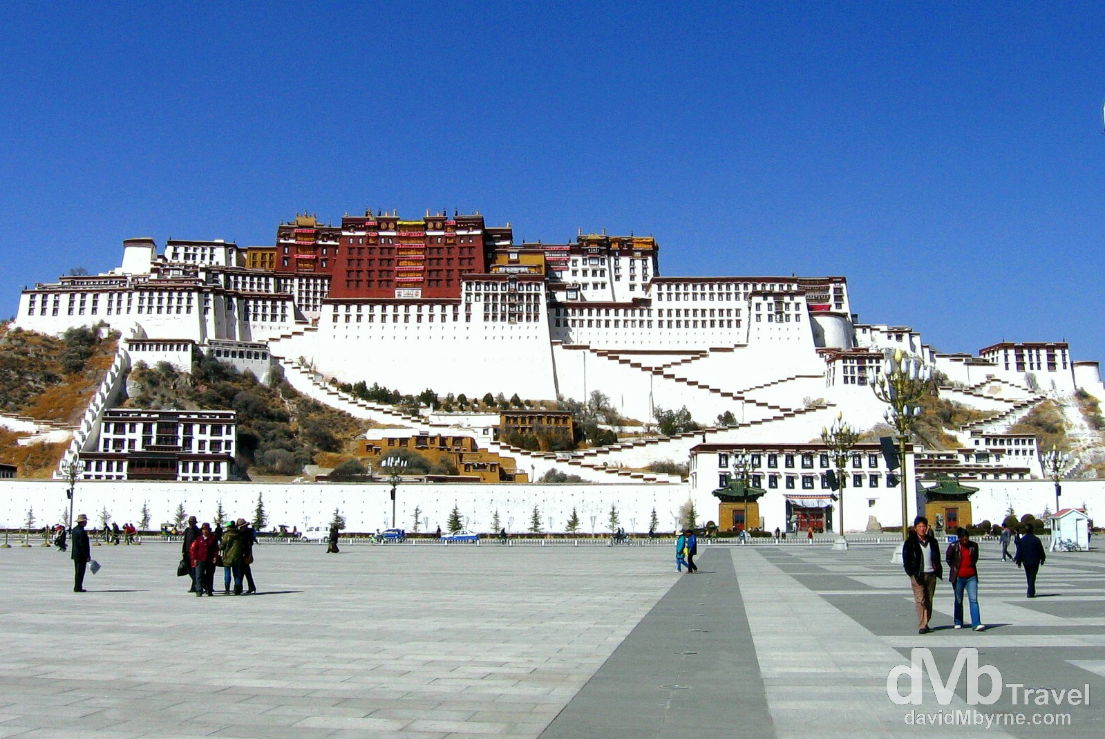 The Potala Palace as seen from People's Park, Lhasa, Tibet. February 25th, 2008.