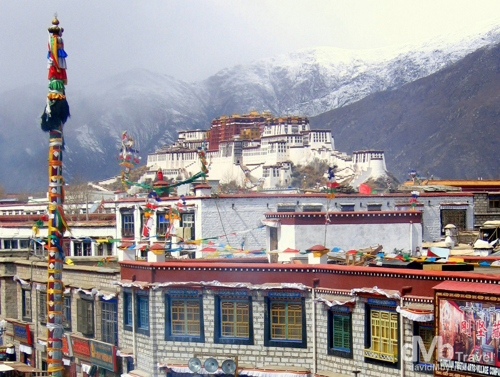The Potala Palace as seen from the roof of the Jokhang Temple in Lhasa, Tibet. February 27th, 2008.