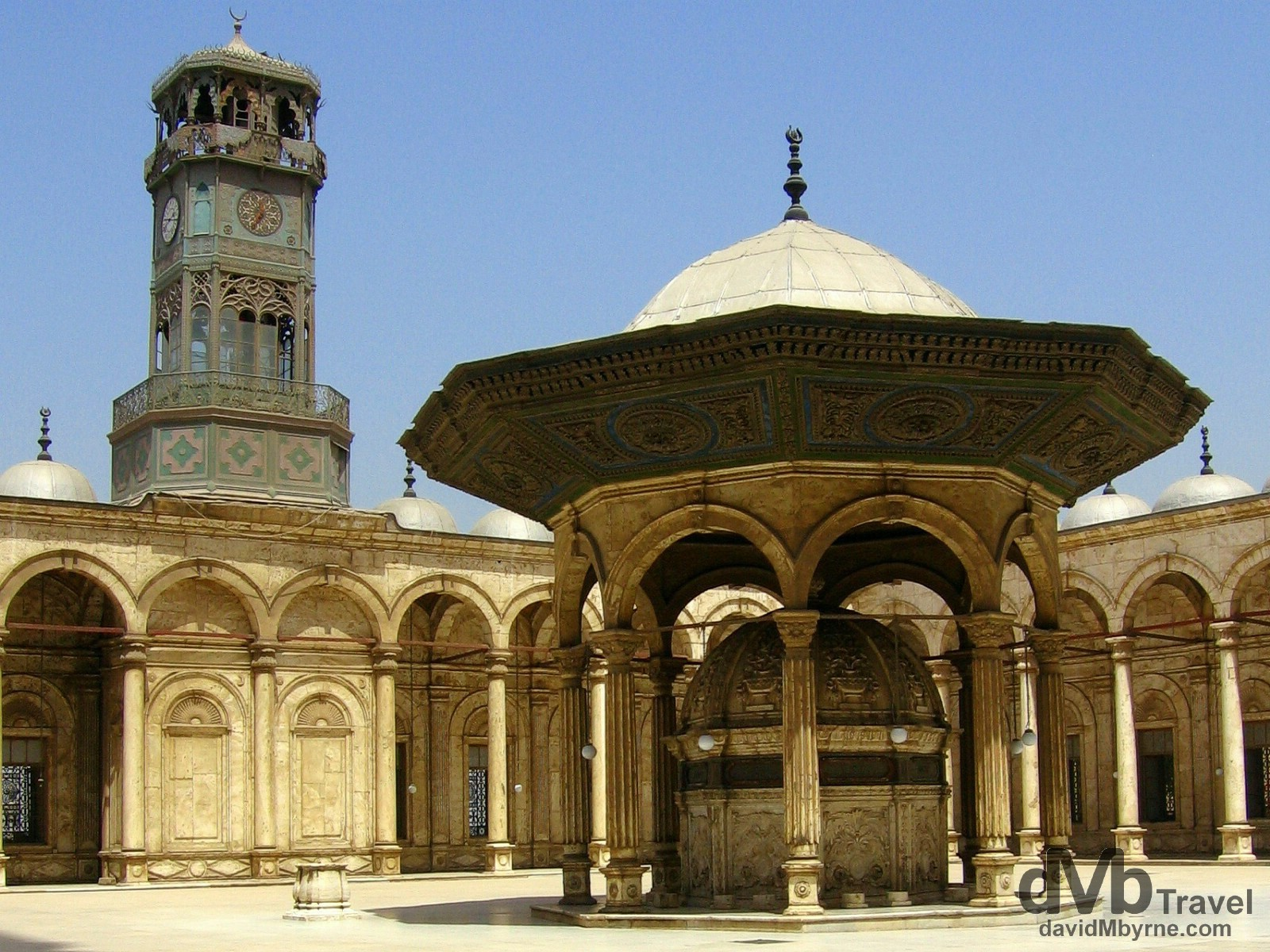 The marble-heavy external courtyard of the Muhammad Ali Mosque of the Saladin Citadel in Cairo, Egypt. April 14, 2008.