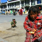 Children on the streets of Shingtse, Tibet. March 1st, 2008.