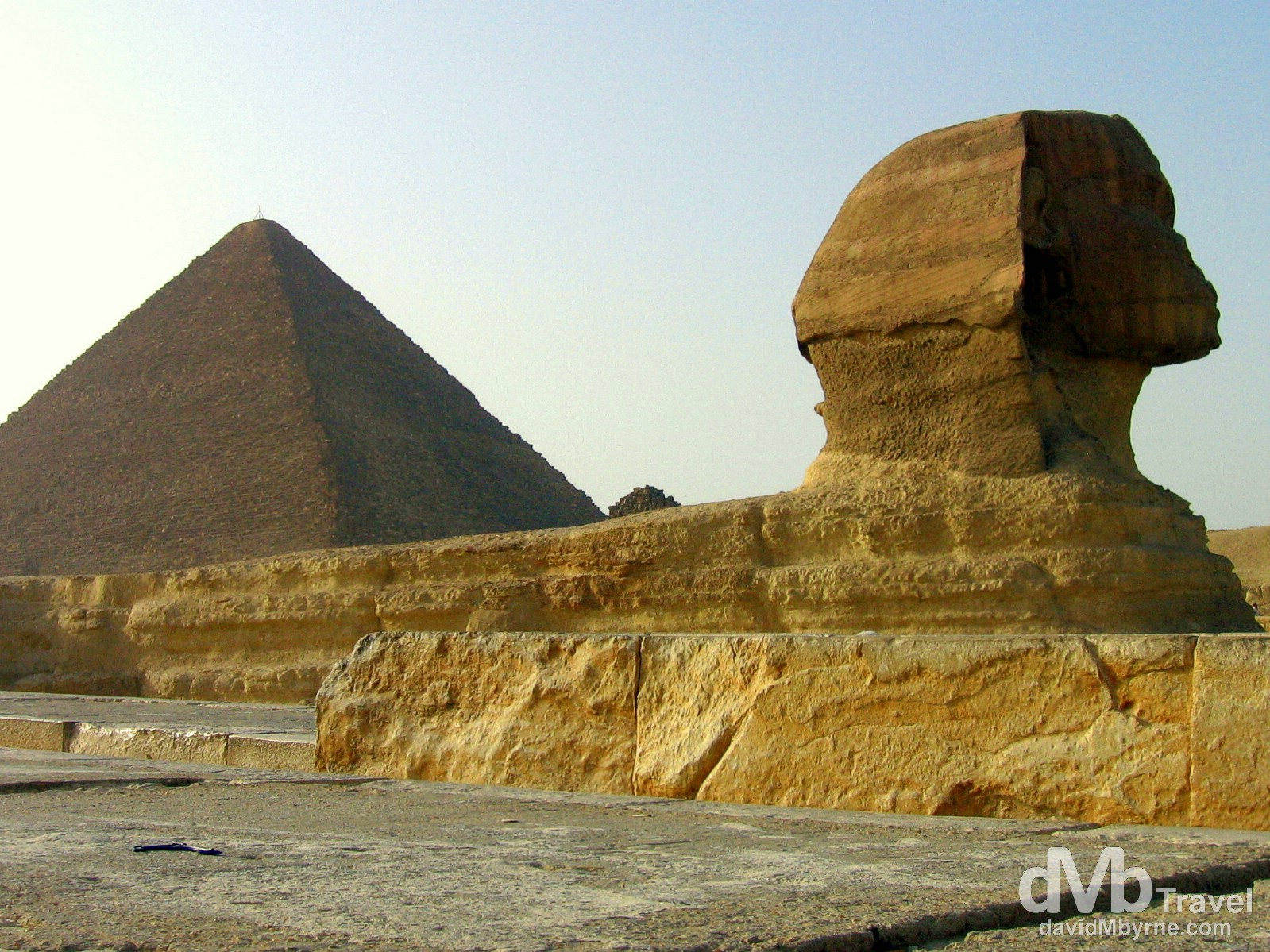 The Sphinx with the Great Pyramid of Khufu on the Giza Plateau, Giza, Egypt. April 13, 2008.