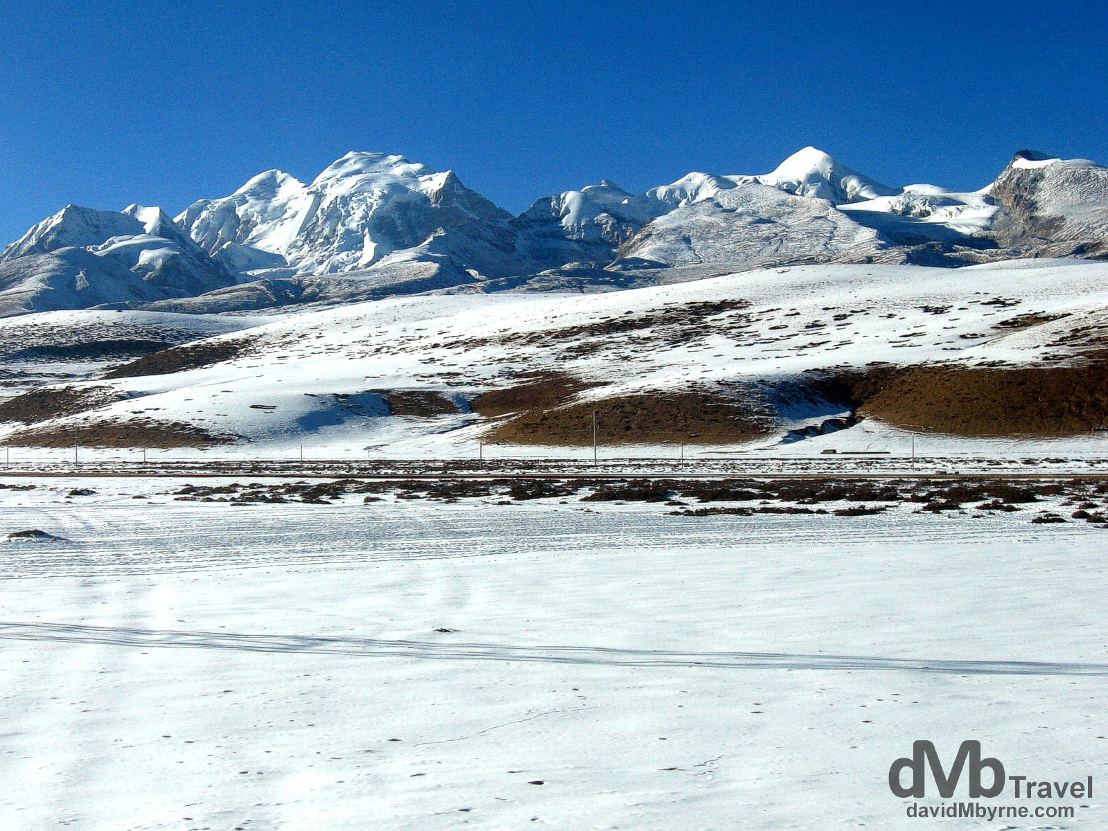 Tibetan Plateau scenery as seen from the Qinghai–Tibet Railway. February 24th, 2008.