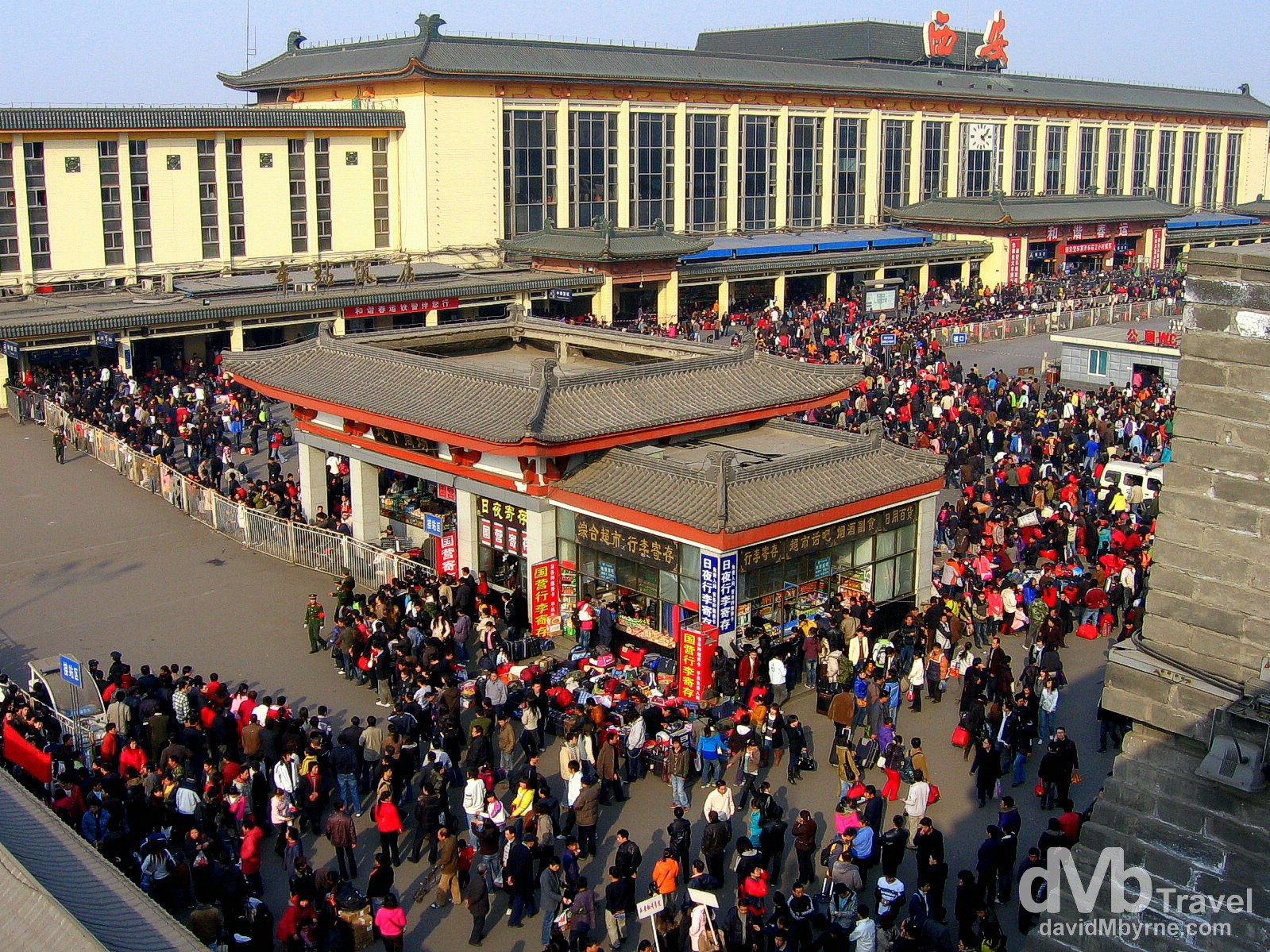 Crowds outside the main train station in Xi'an, Shaanxi Province, China. February 22nd, 2008.