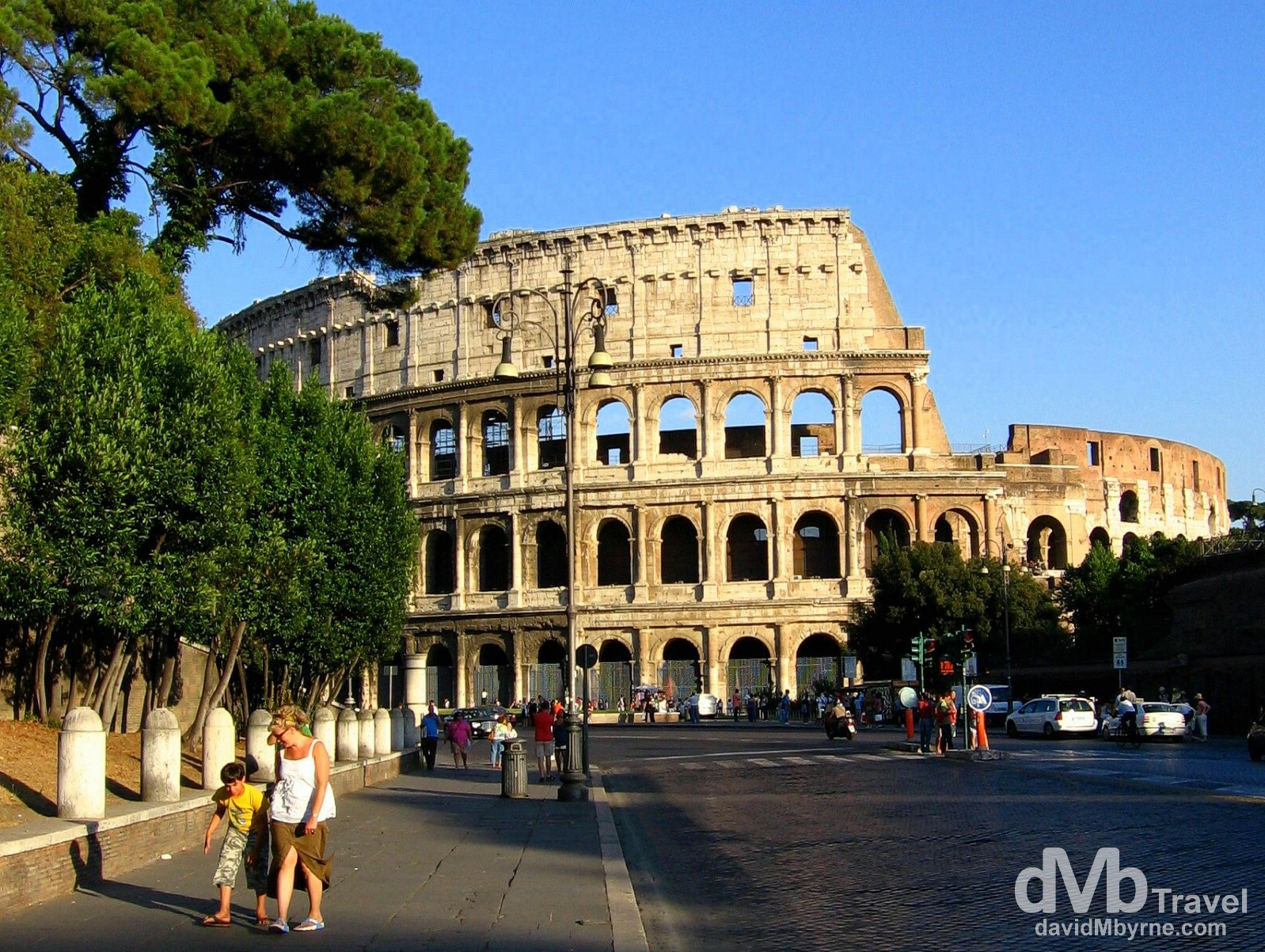 The view of the external shell of the Colosseum from Via della Fori Imperiali, Rome, Italy. September 1st, 2007.
