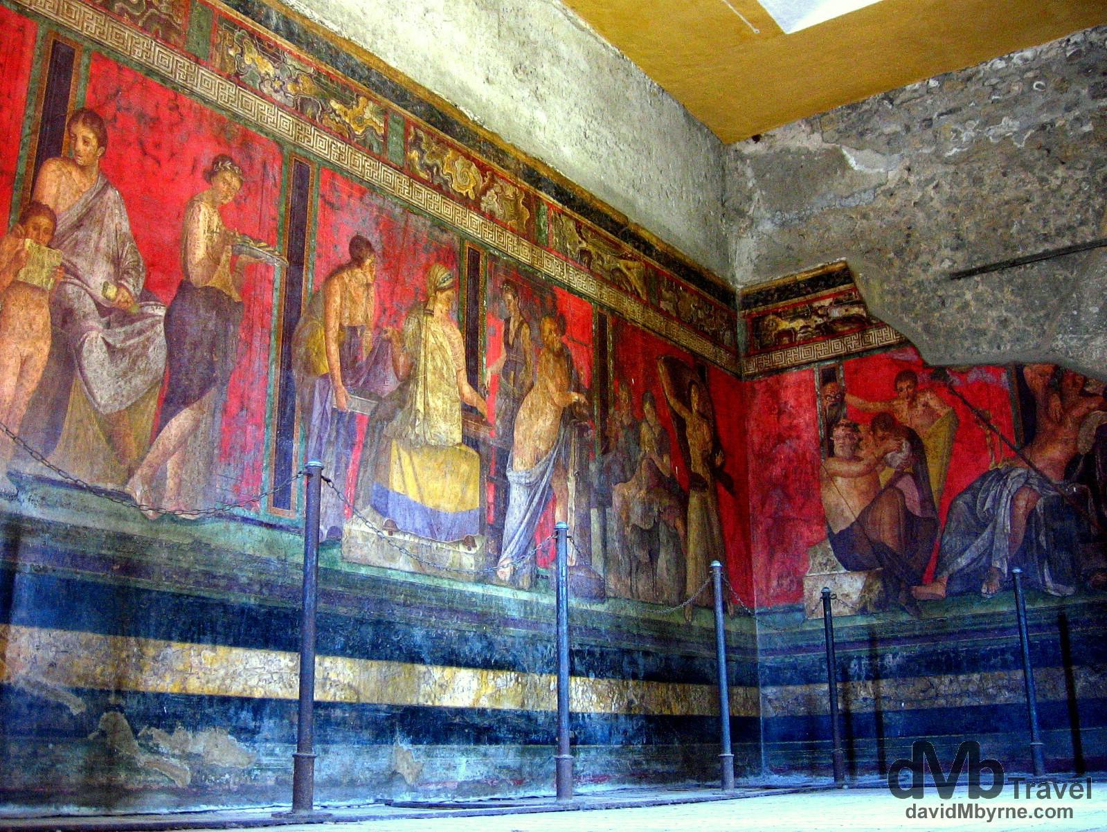 Murals in Villa dei Misteri, Pompeii, Campania, Italy. September 5th, 2007.