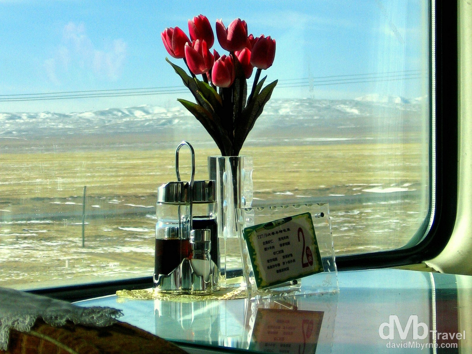 Dining car of the Qinghai–Tibet Railway crossing the Tibetan Plateau, Tibet. February 24th, 2008.