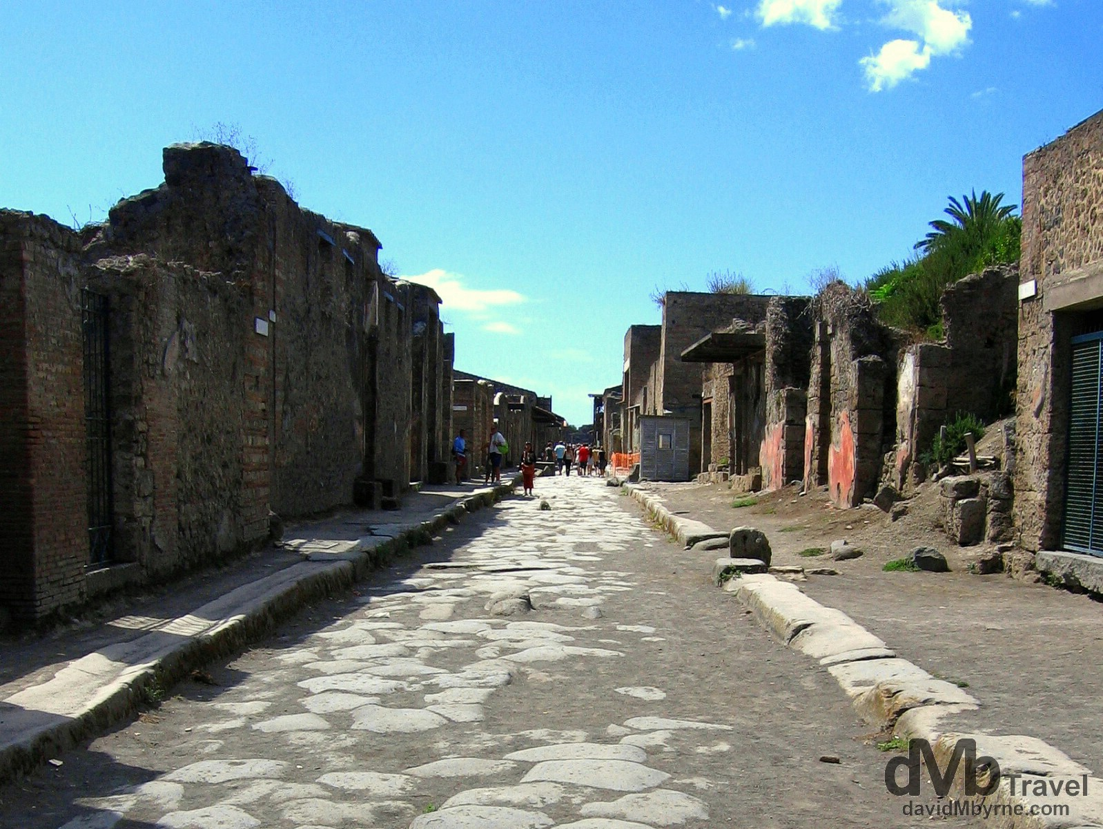 Via dell Abbondanza, one of the main streets in the Roman ruins of Pompeii, Campania, Italy. September 5th, 2007.