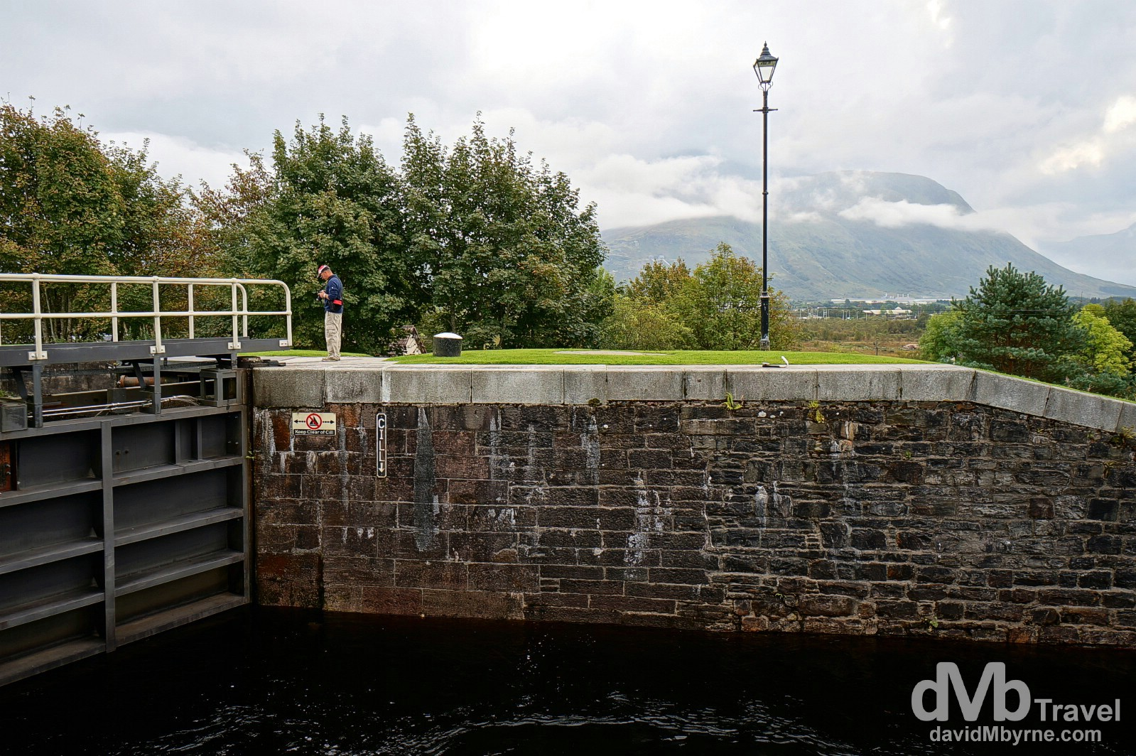 Ben Nevis, the tallest peak in the United Kingdom, as seen from the Neptune's Staircase lock of the Caledonian Canal in Banavie, Highland, Scotland. September 18, 2014.