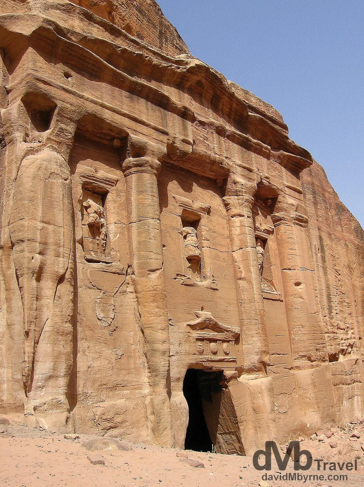 A weather-worn solid rock facade in Petra, Jordan. April 27, 2008.