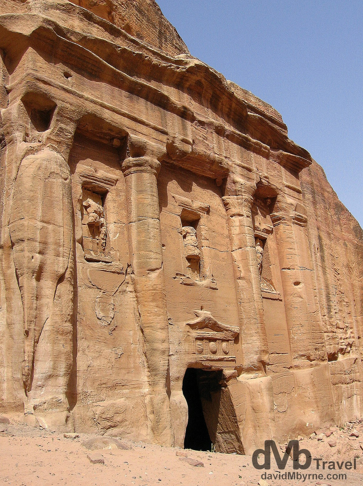A weather-worn solid rock facade in Petra, Jordan. April 27, 2008.