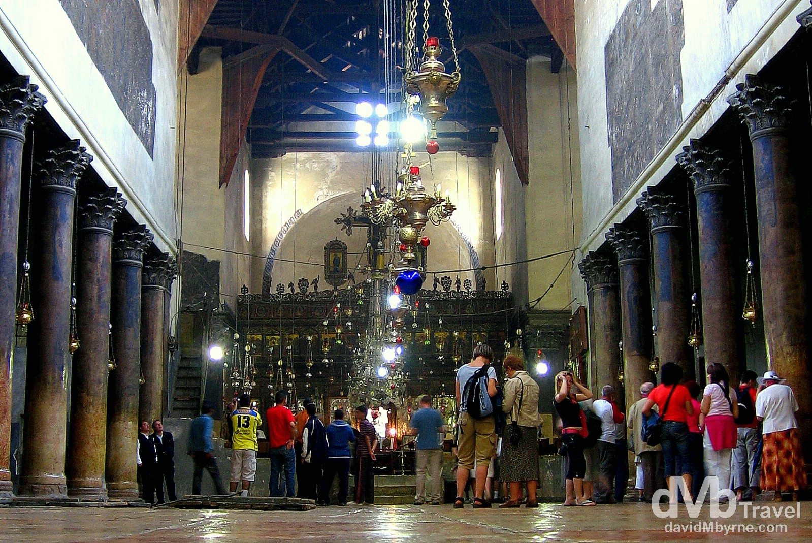The interior of the Church of the Nativity, traditionally considered to be located over the cave that marks the birthplace of Jesus of Nazareth. Bethlehem, Palestine. May 2, 2008.