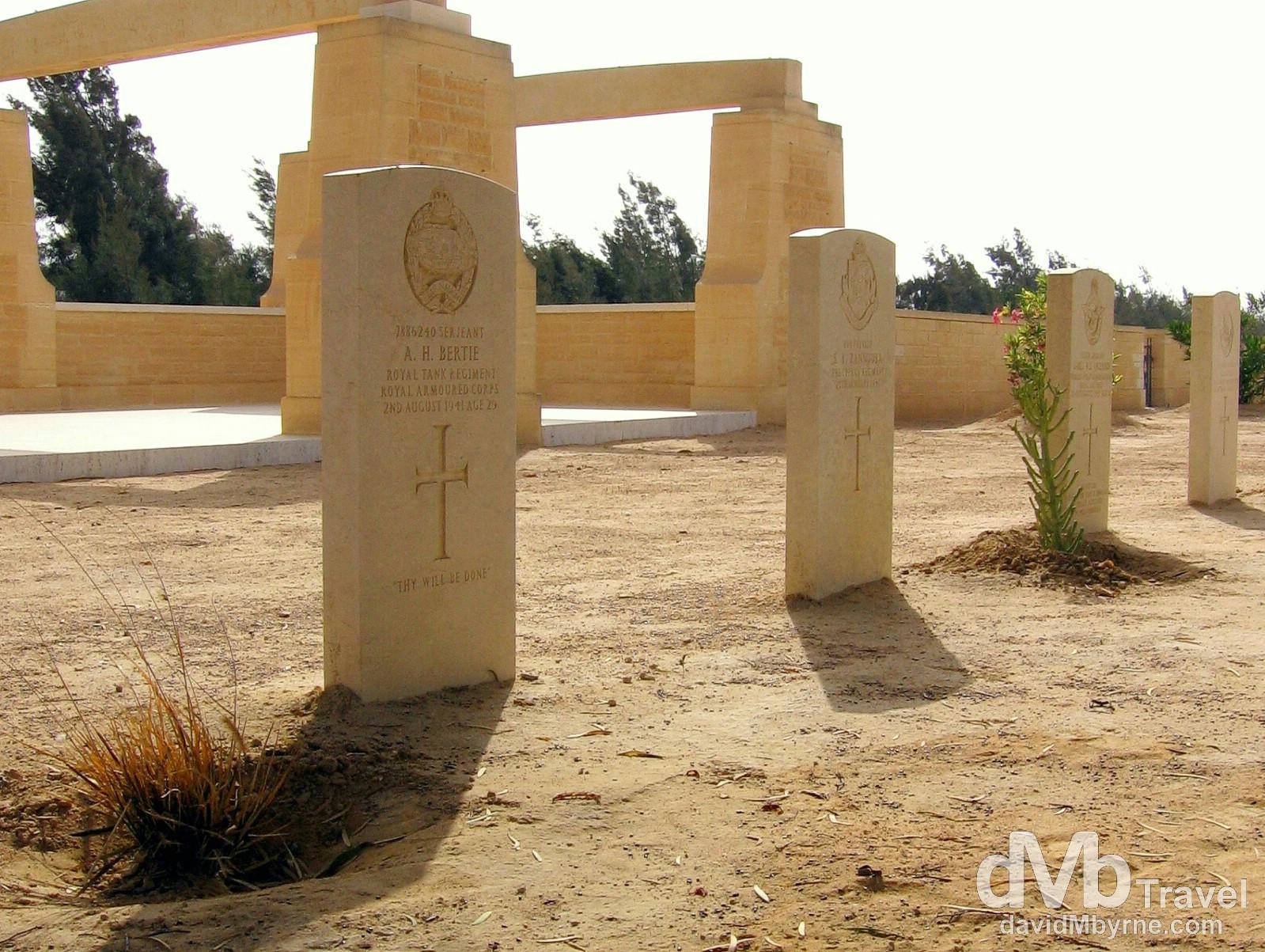 Gravestones in the Commonwealth War Cemetery in El Alamein, Egypt. April 15, 2008.