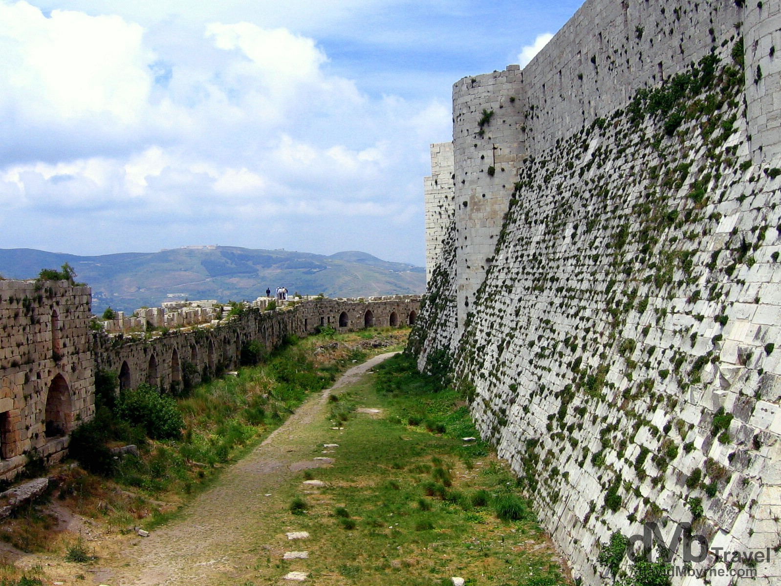 A section of the external wall of the Crusader castle Crac des Chevaliers in Syria. May 7, 2008.
