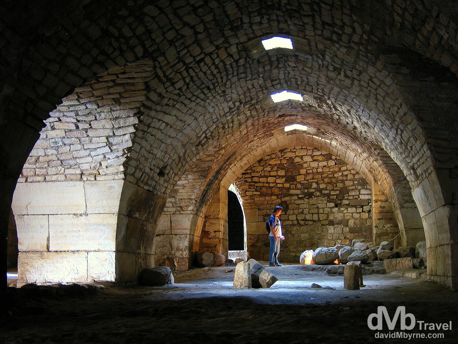 Inside one of the cavernous corridors of the old Crusader castle Crac des Chevaliers in Syria. May 7, 2008.