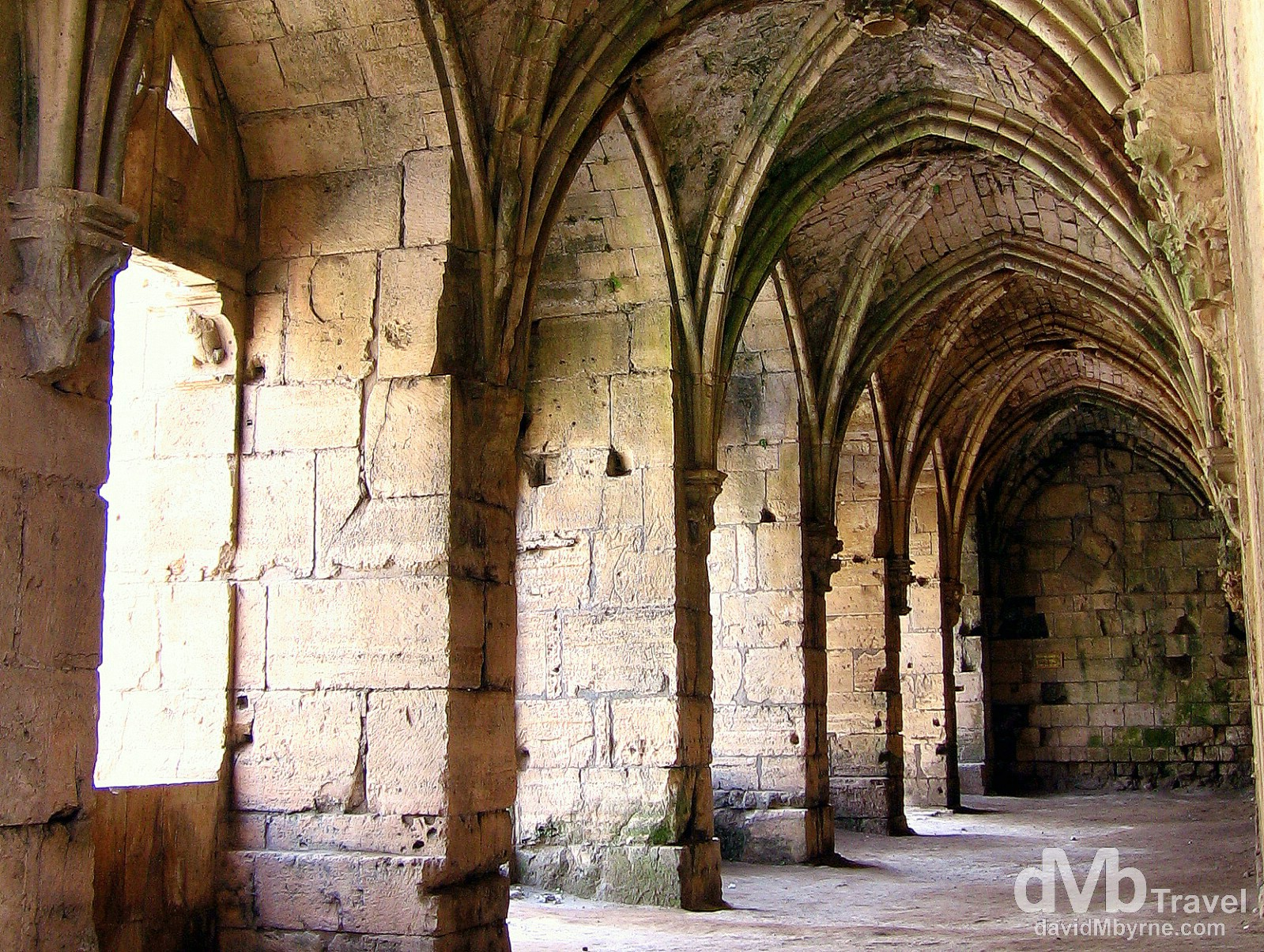 A section of the inside of the old Crusader castle Crac des Chevaliers in Syria. May 7, 2008.