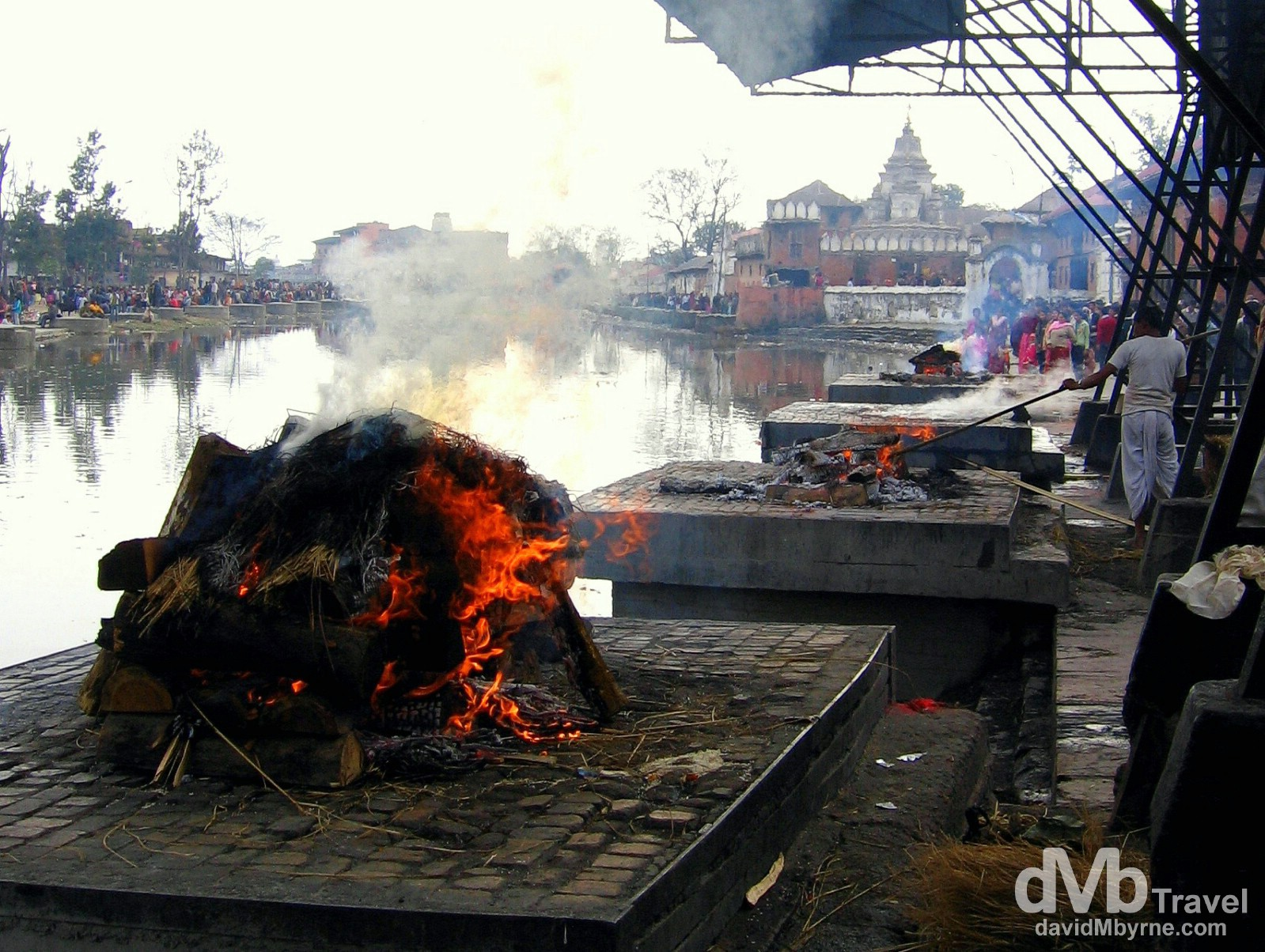 Pashupatinath lines the holy River Bagmati and is a popular cremation site for Hindis. Pictures here were allowed but one is expected to show the respect required at any funeral service. Pashupatinath, Kathmandu, Nepal. March 6, 2008.